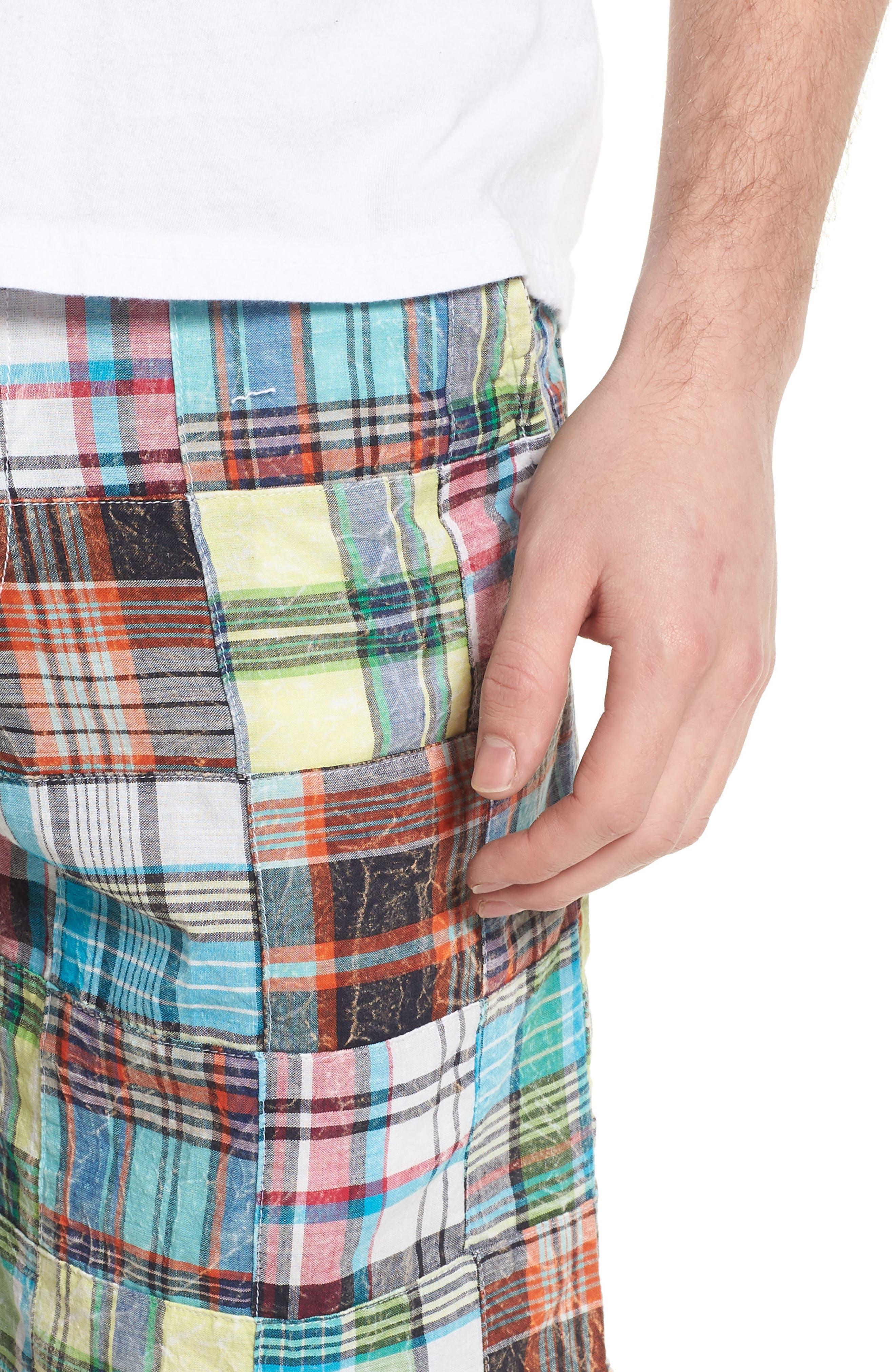 Acid Wash Plaid Patchwork Shorts,                             Alternate thumbnail 4, color,                             300
