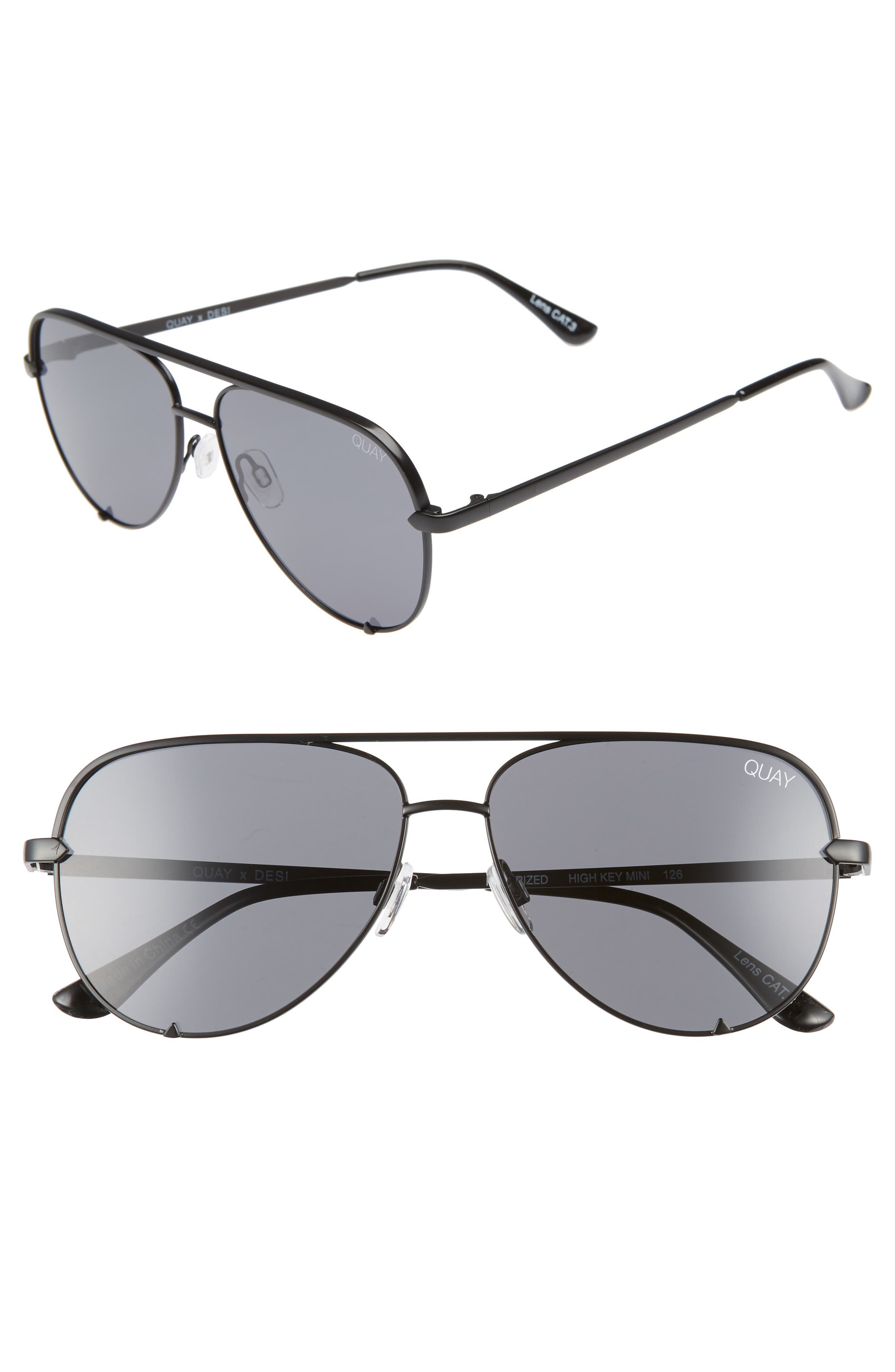 X Desi Perkins High Key Mini 57Mm Aviator Sunglasses - Black/ Smoke