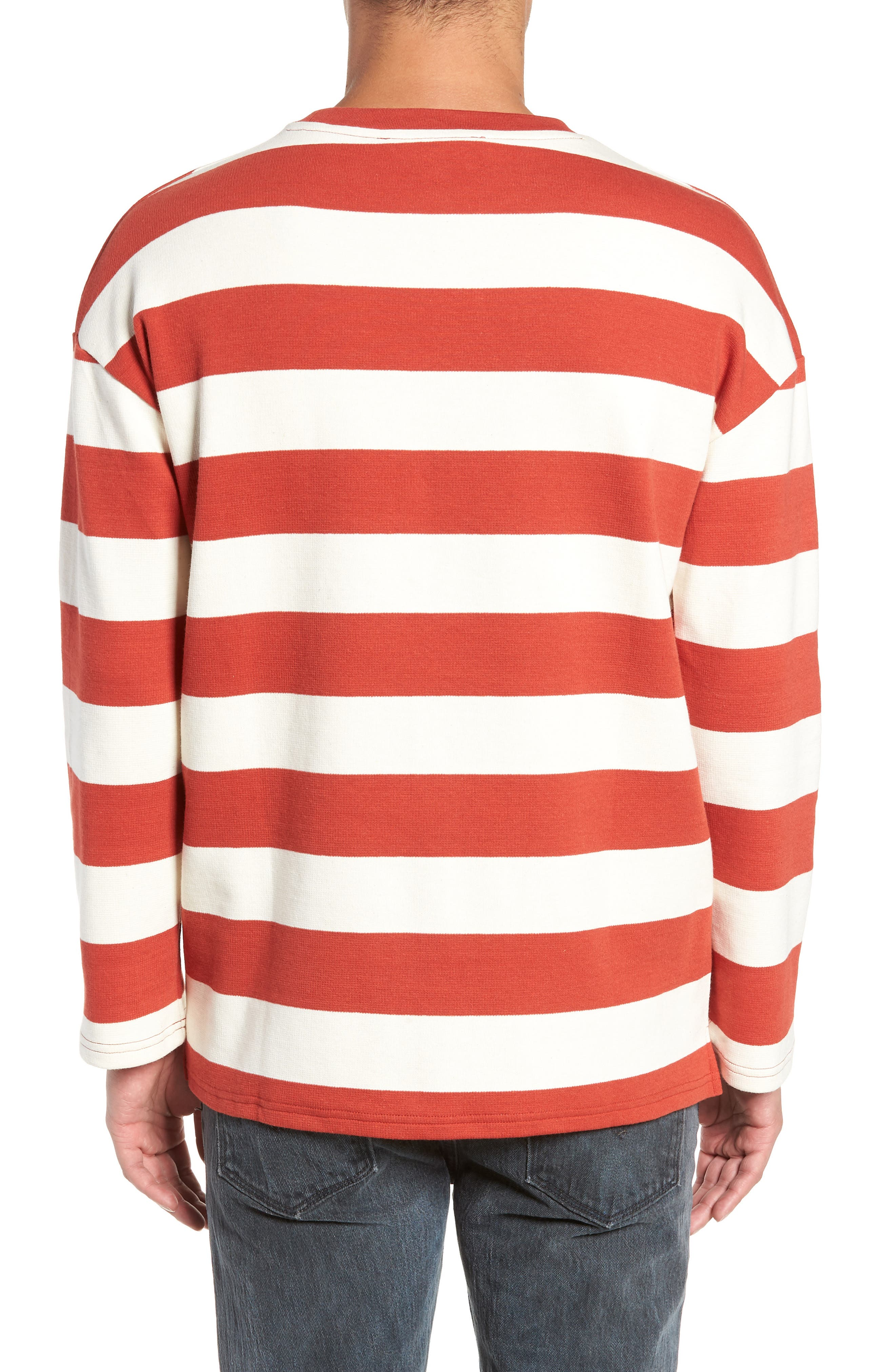 Stripe Crewneck Sweatshirt,                             Alternate thumbnail 2, color,                             ORANGE