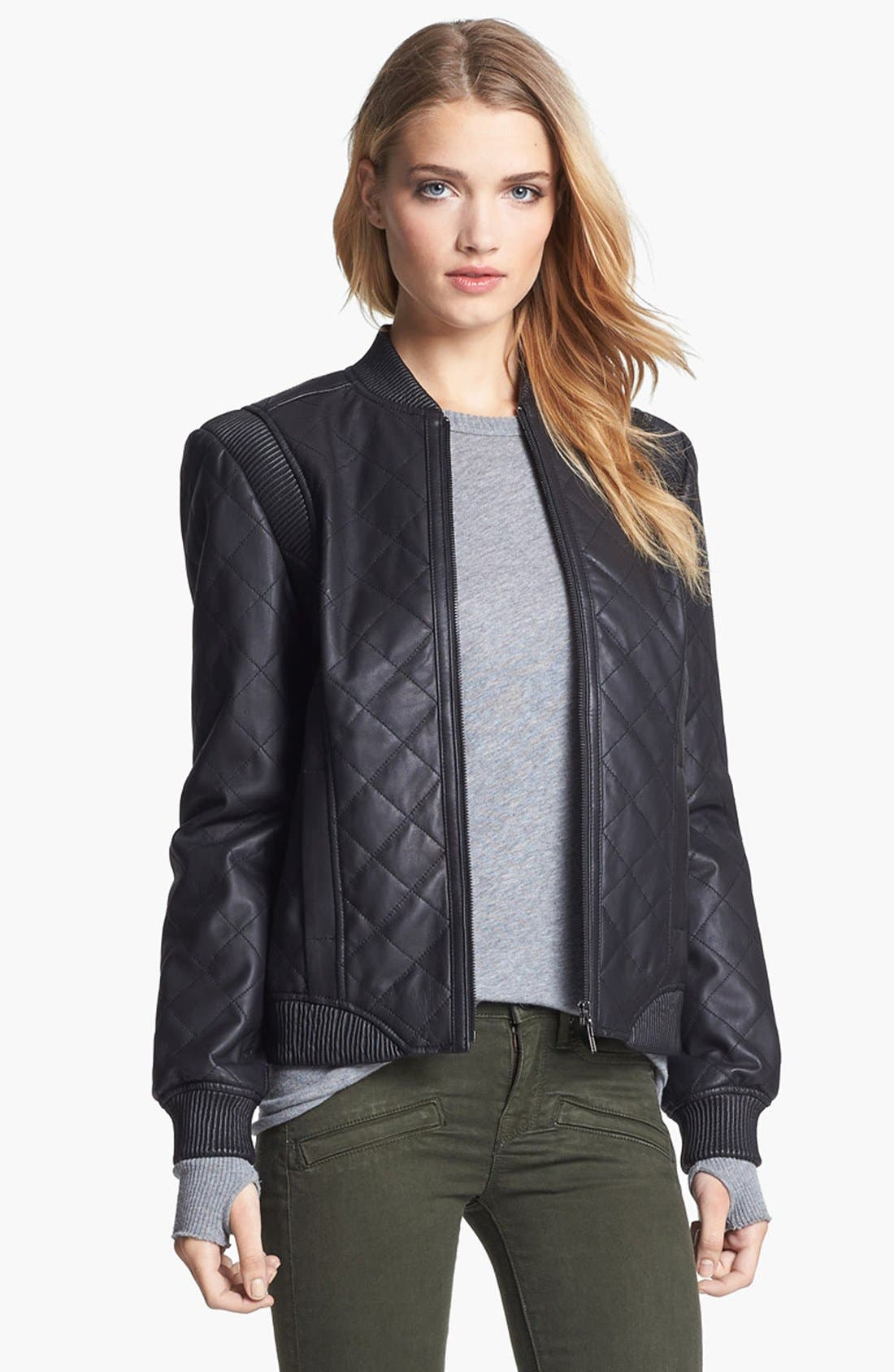 Quilted Leather Bomber Jacket,                             Main thumbnail 1, color,                             001