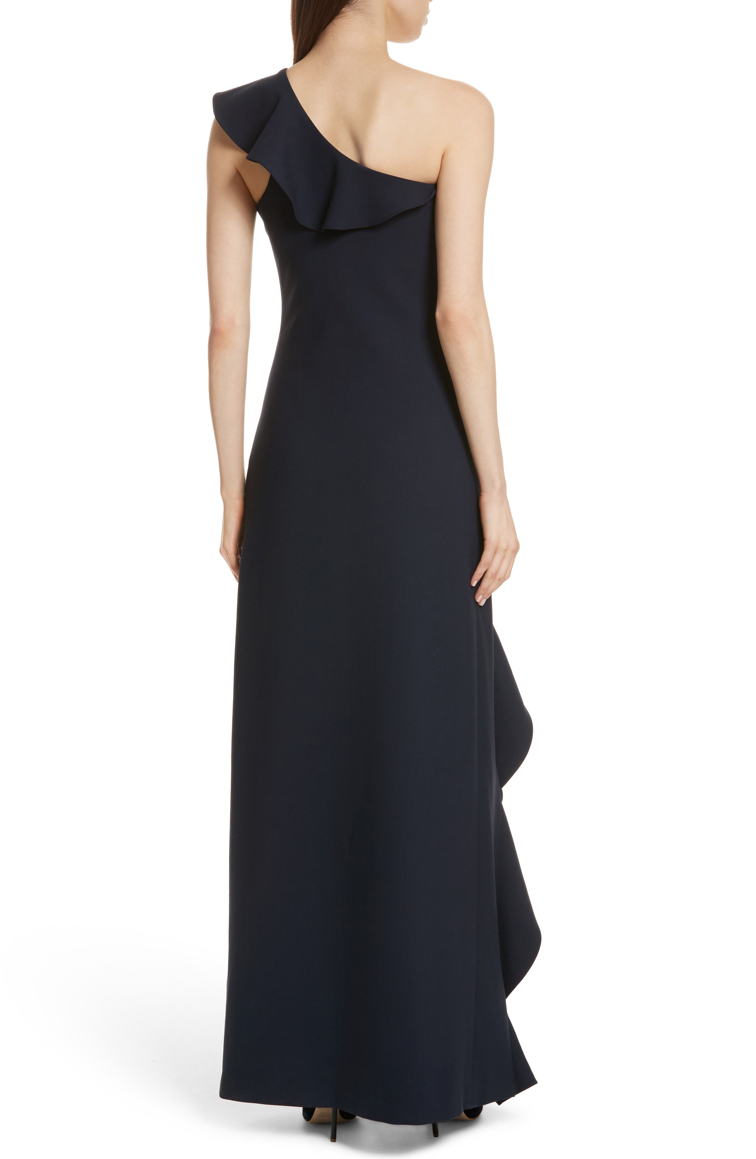 Remy One Shoulder Ruffle Gown,                             Alternate thumbnail 2, color,                             410
