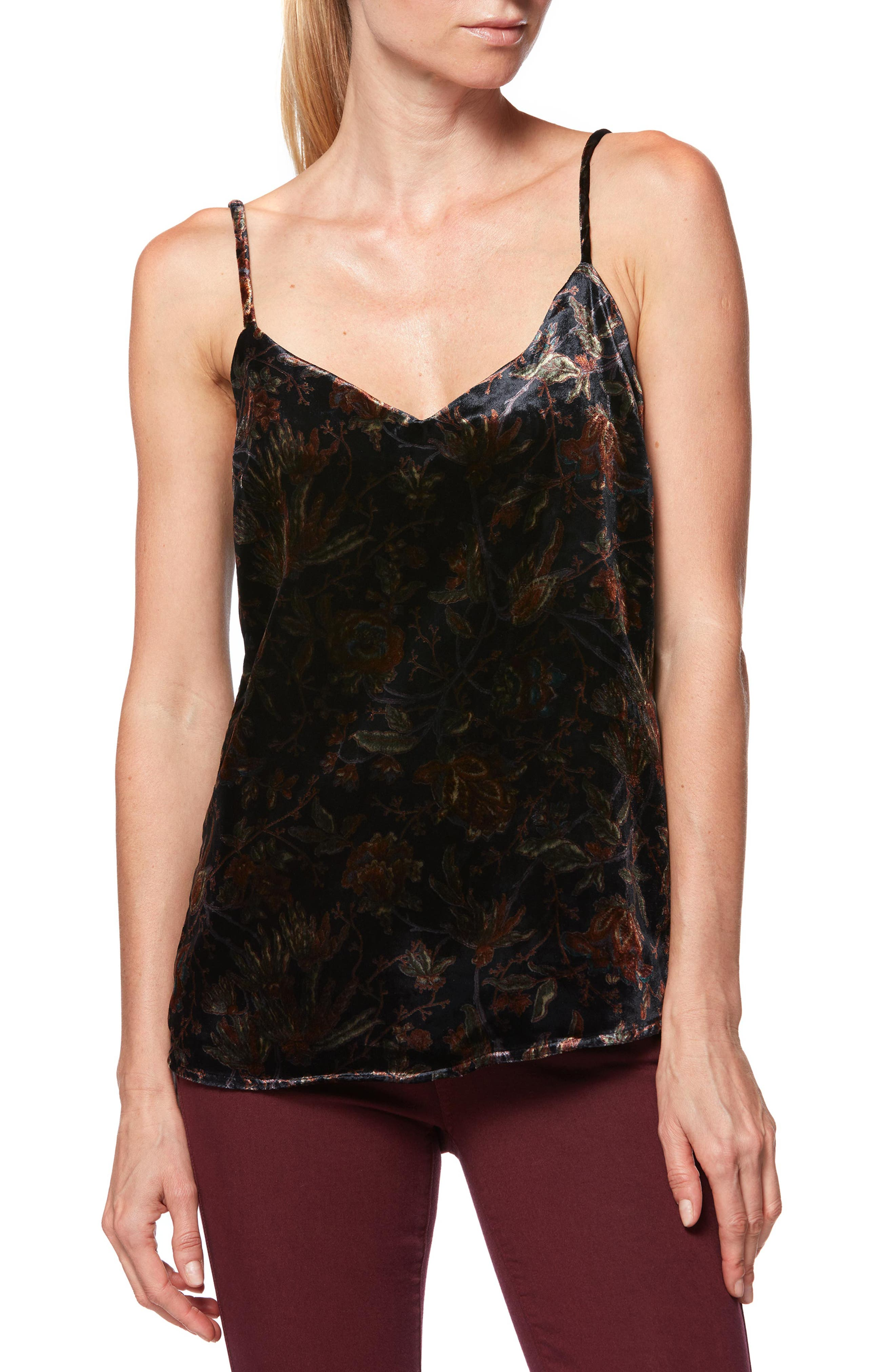 Cicely Velvet Camisole,                             Main thumbnail 1, color,                             BLACK GOLDEN SKY