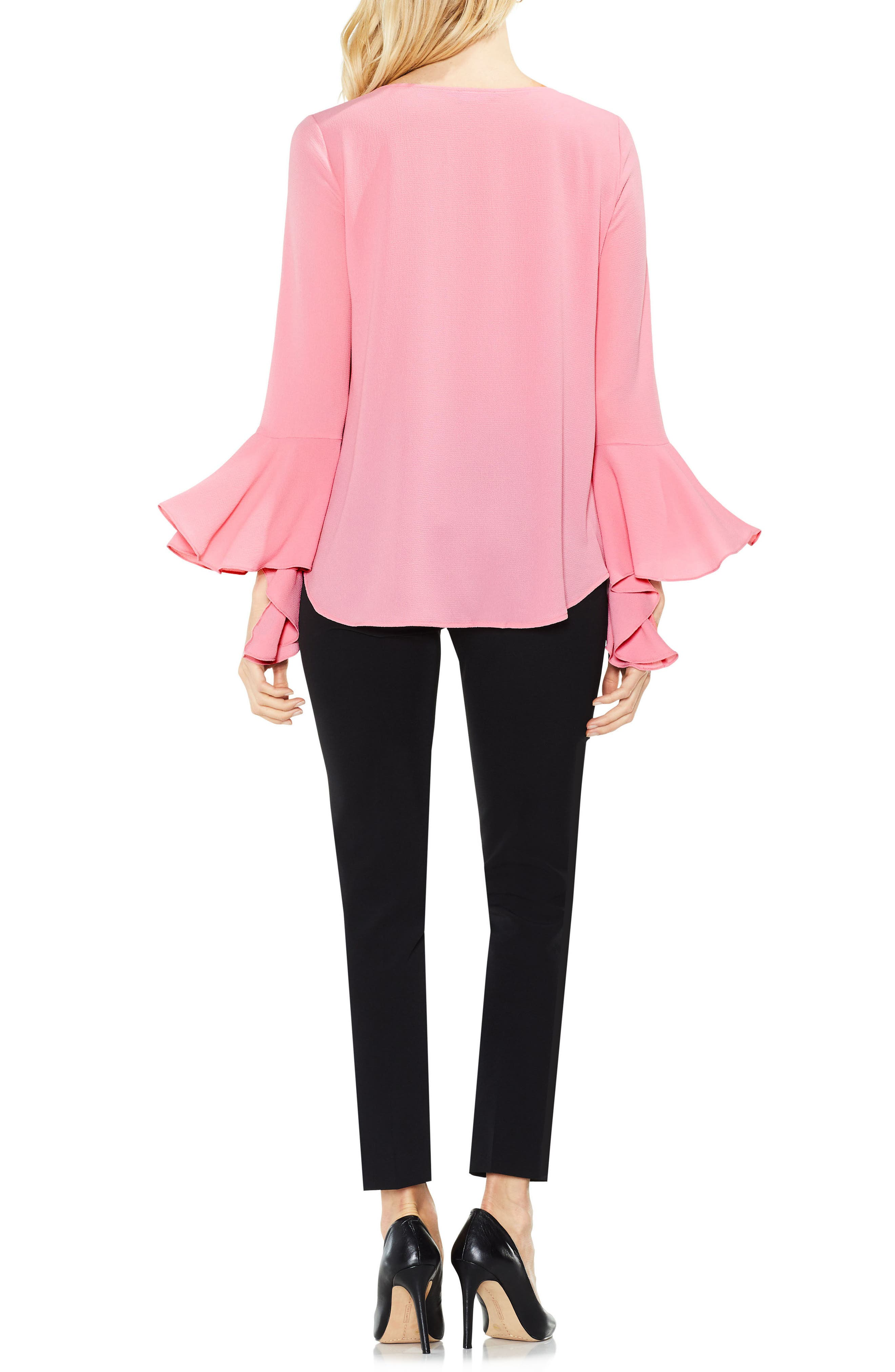 Bell Cuff Foldover Blouse,                             Alternate thumbnail 7, color,
