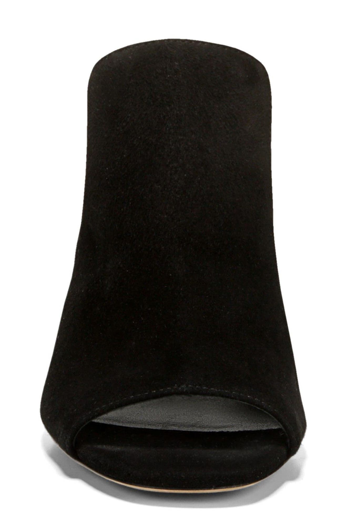 Tanay Loafer Mule,                             Alternate thumbnail 4, color,                             BLACK SUEDE LEATHER