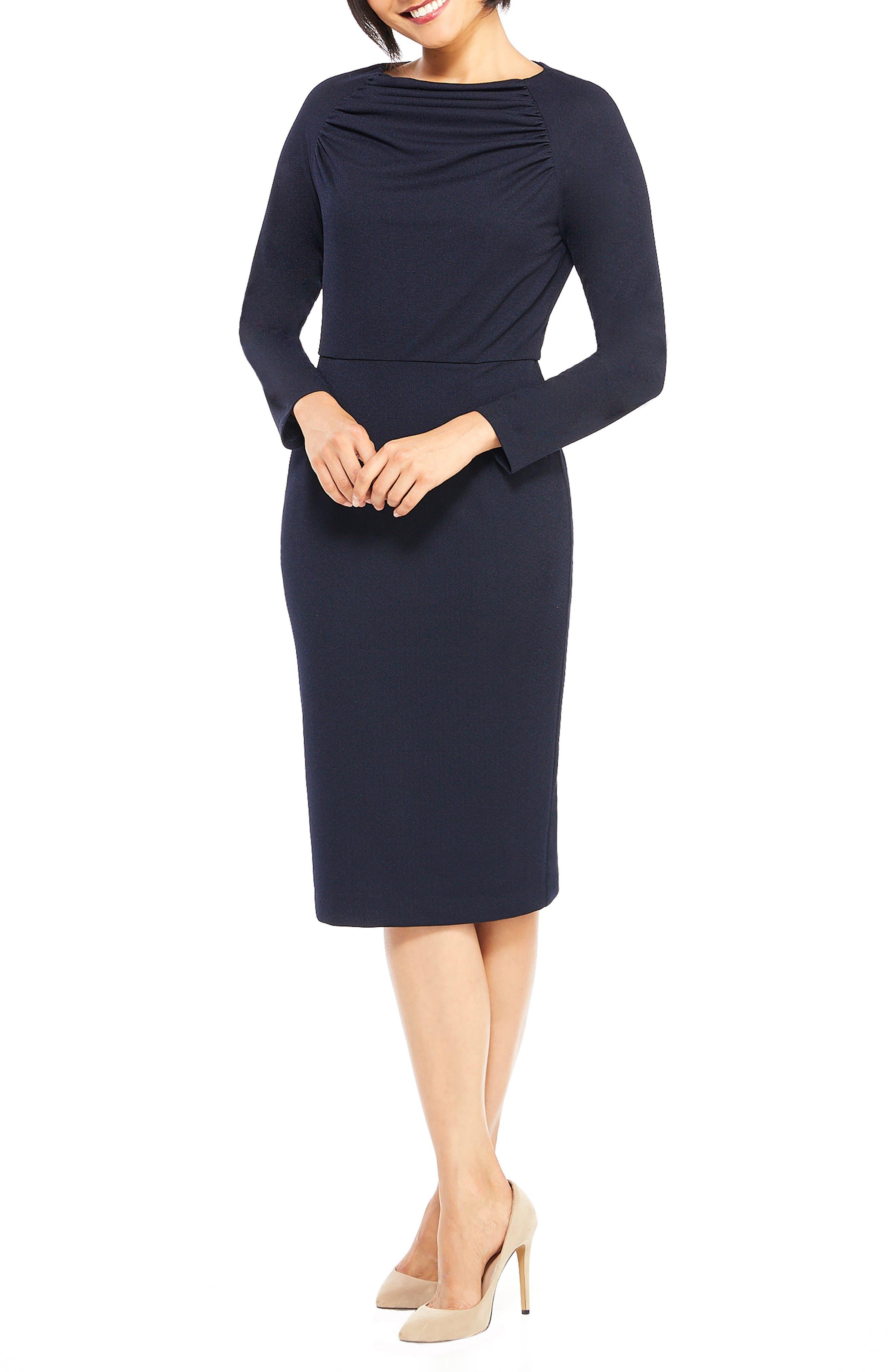 Petite Maggy London Crepe Sheath Dress, Blue