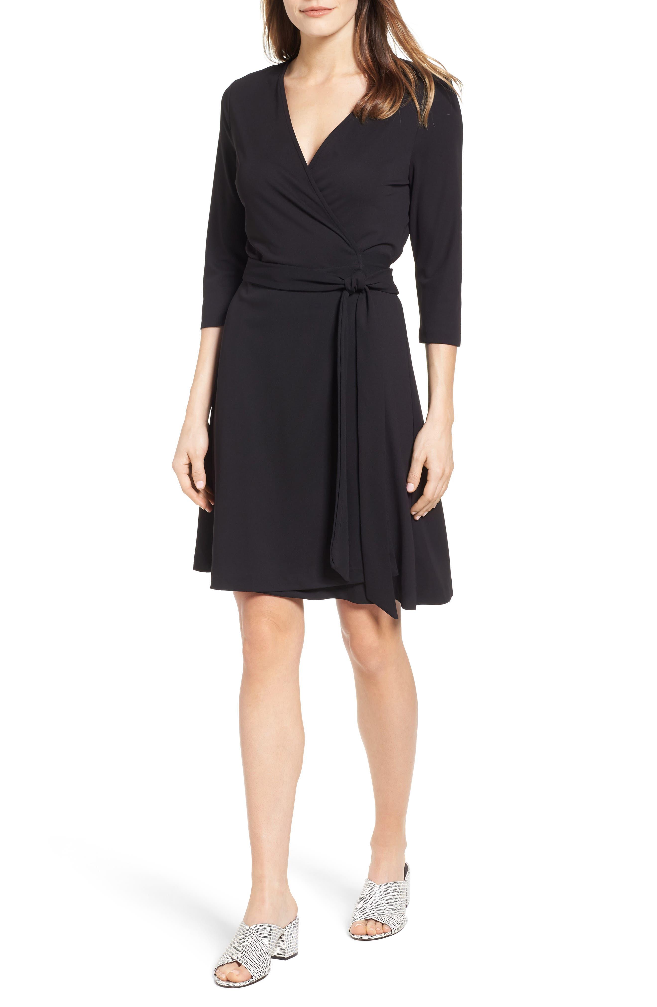 Jersey Wrap Dress,                             Main thumbnail 1, color,                             RICH BLACK