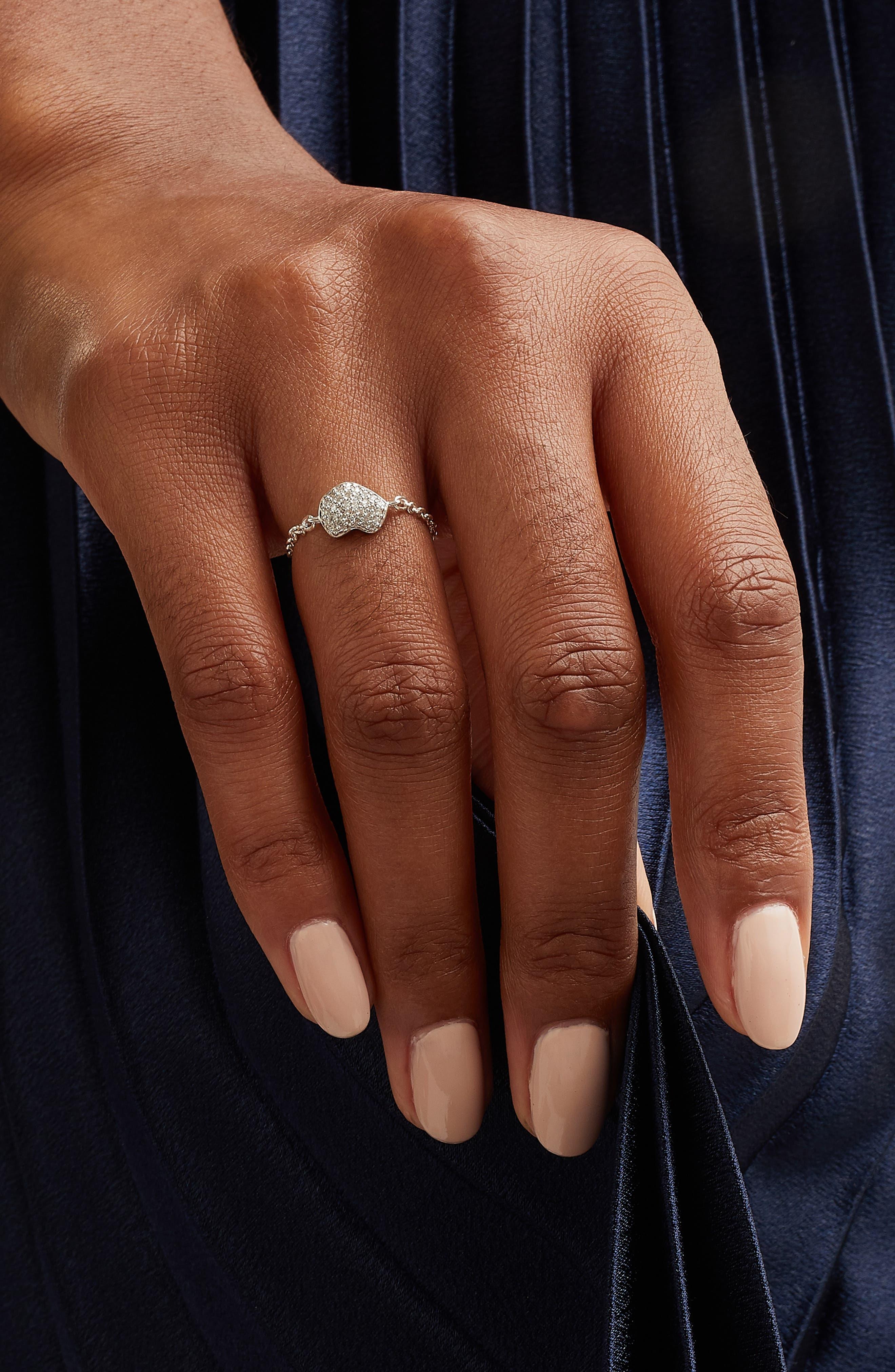Nura Mini Heart Friendship Chain Ring,                             Alternate thumbnail 2, color,                             SILVER/ DIAMOND
