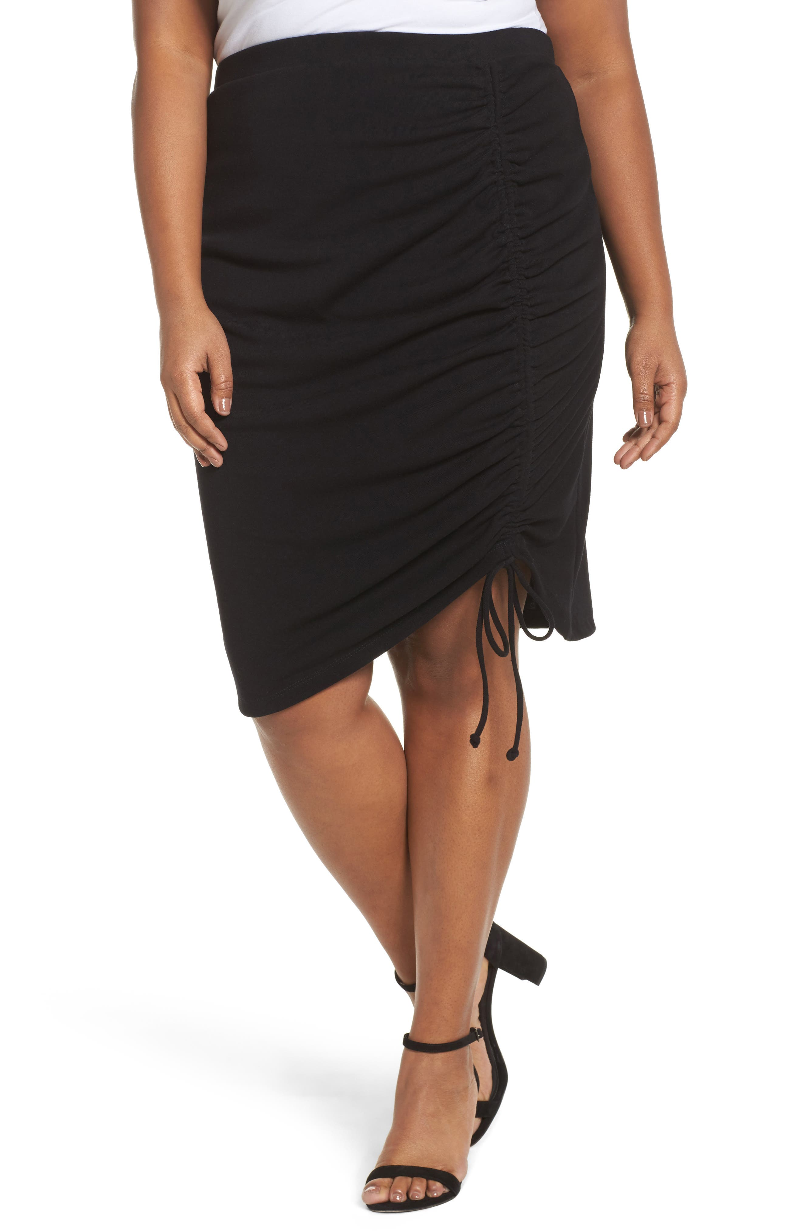 Side Ruched Pencil Skirt,                             Main thumbnail 1, color,                             001