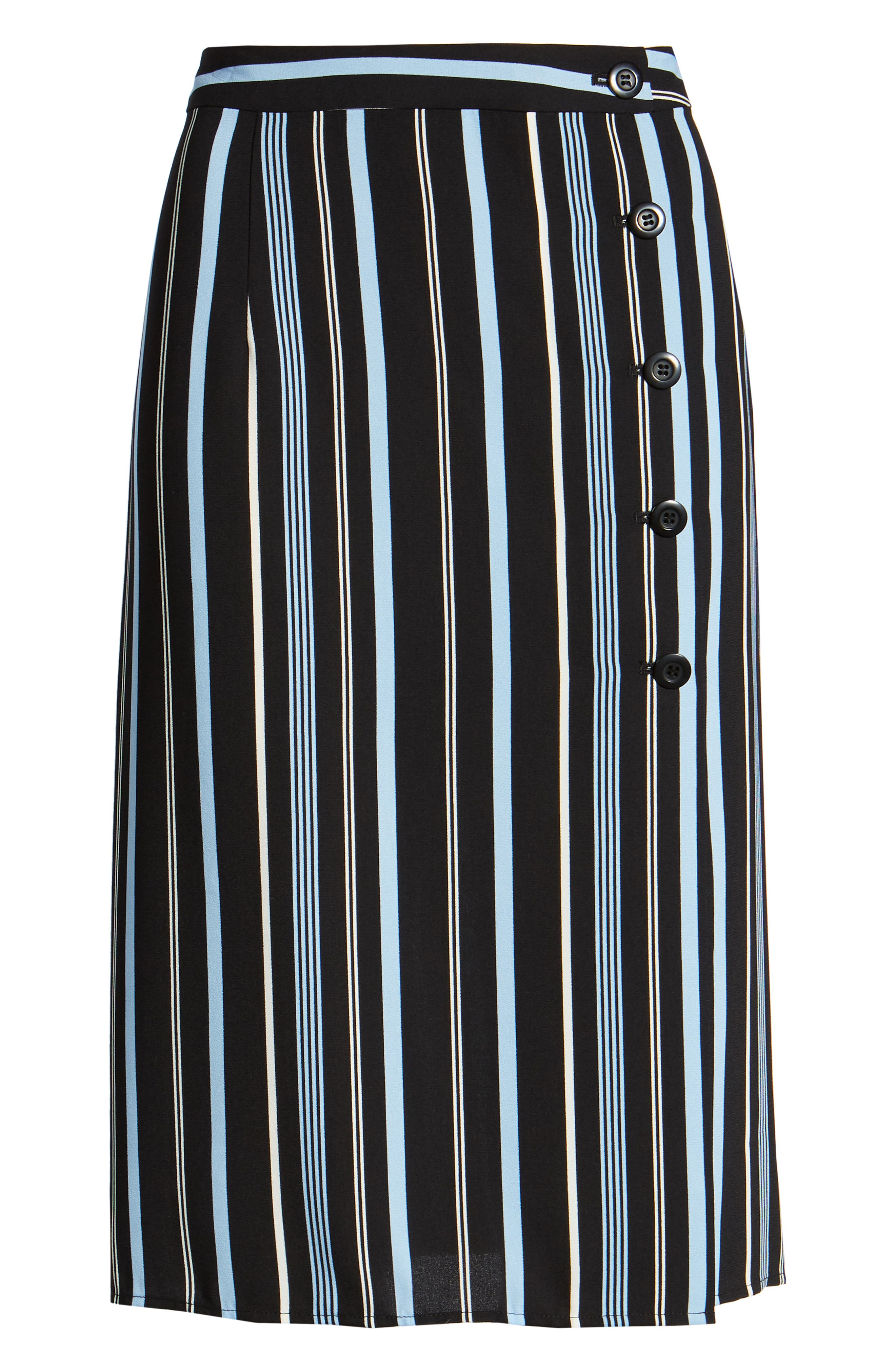 Button Wrap Skirt,                             Alternate thumbnail 7, color,                             BLACK MULTI COLORED STRIPE