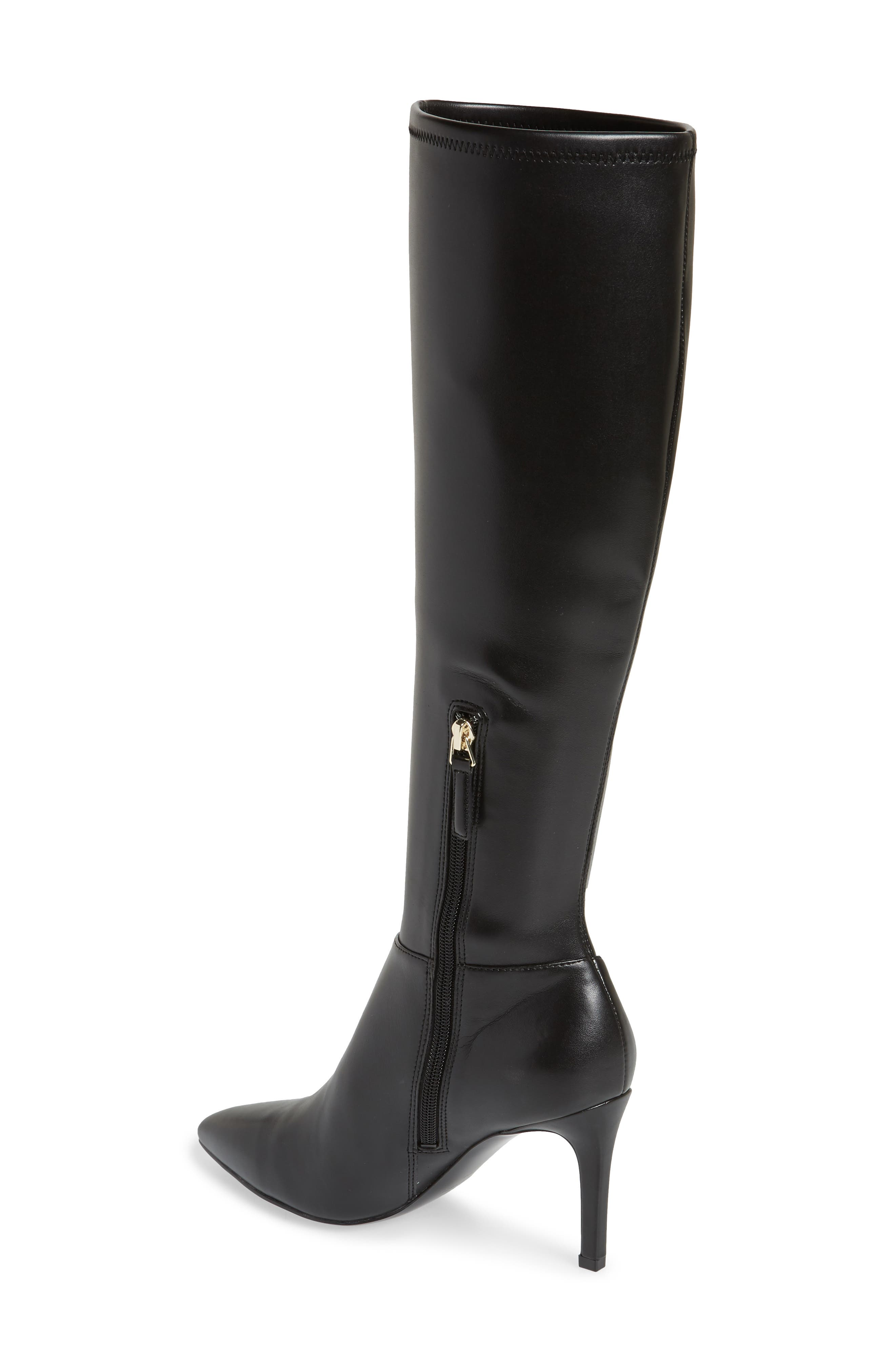Chelsis Knee High Boot,                             Alternate thumbnail 2, color,                             BLACK FAUX LEATHER