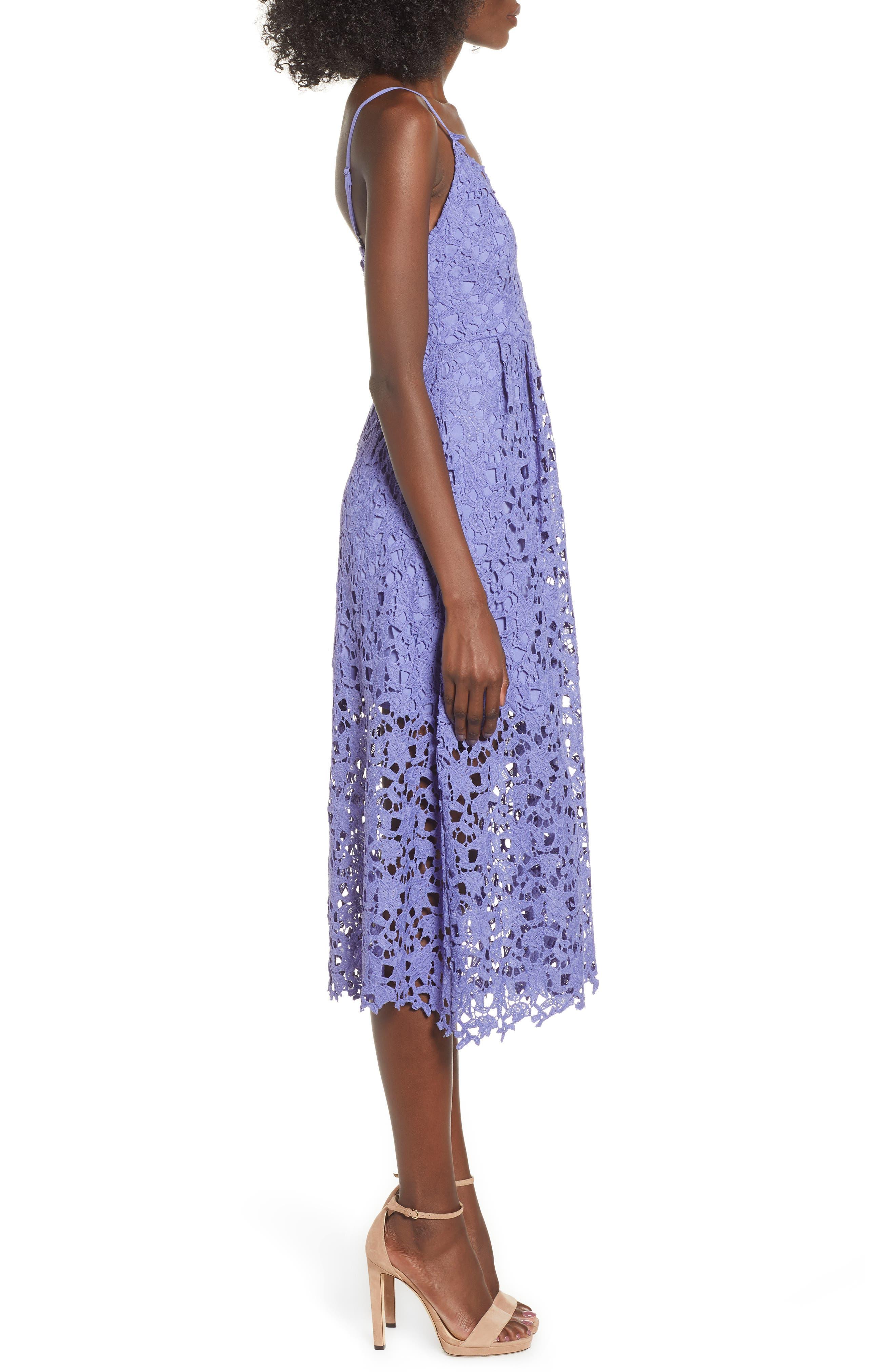 Lace Midi Dress,                             Alternate thumbnail 3, color,                             PURPLE ORCHID