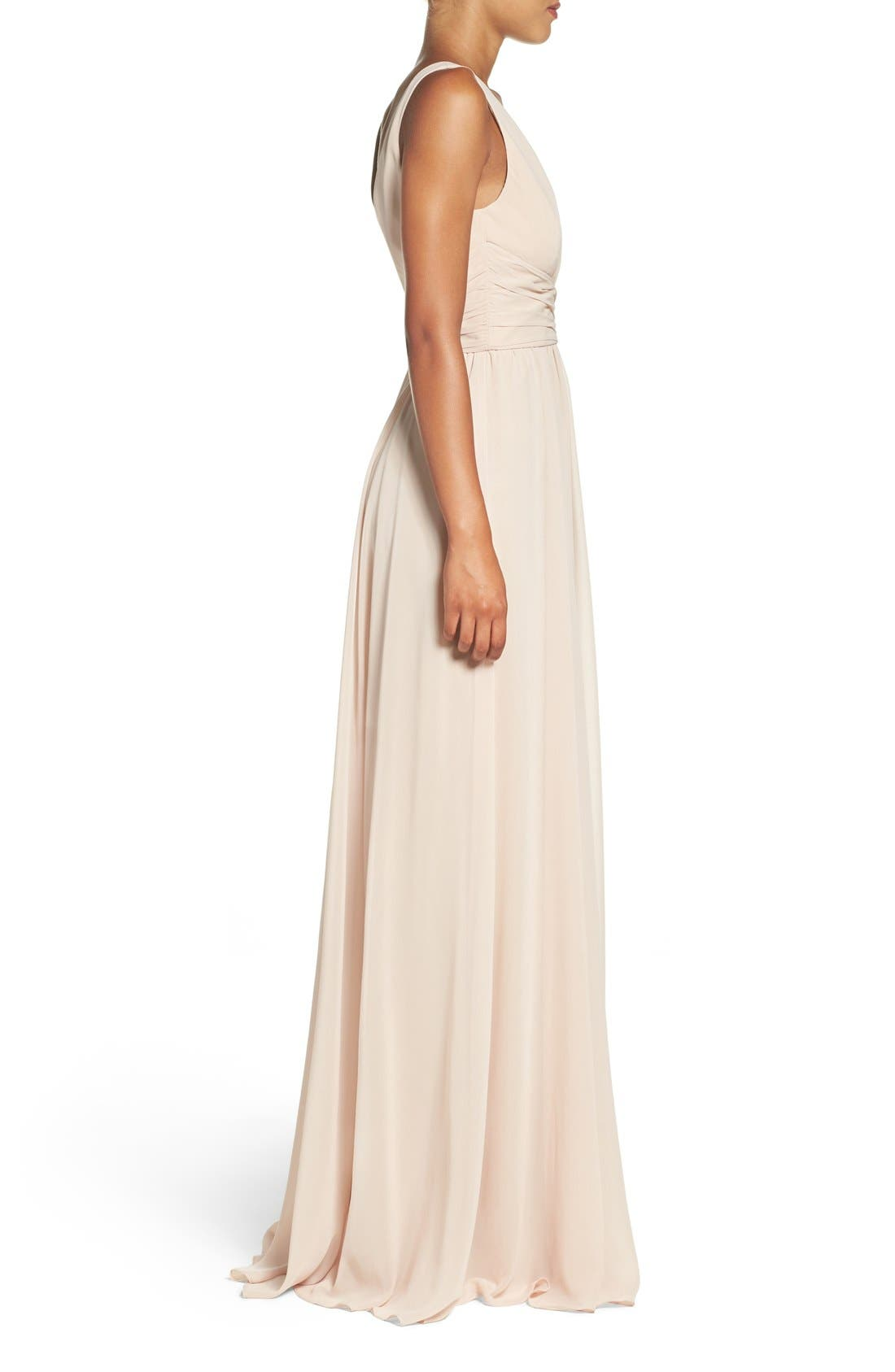 'Justine' Double V-Neck Chiffon Gown,                             Alternate thumbnail 3, color,                             220