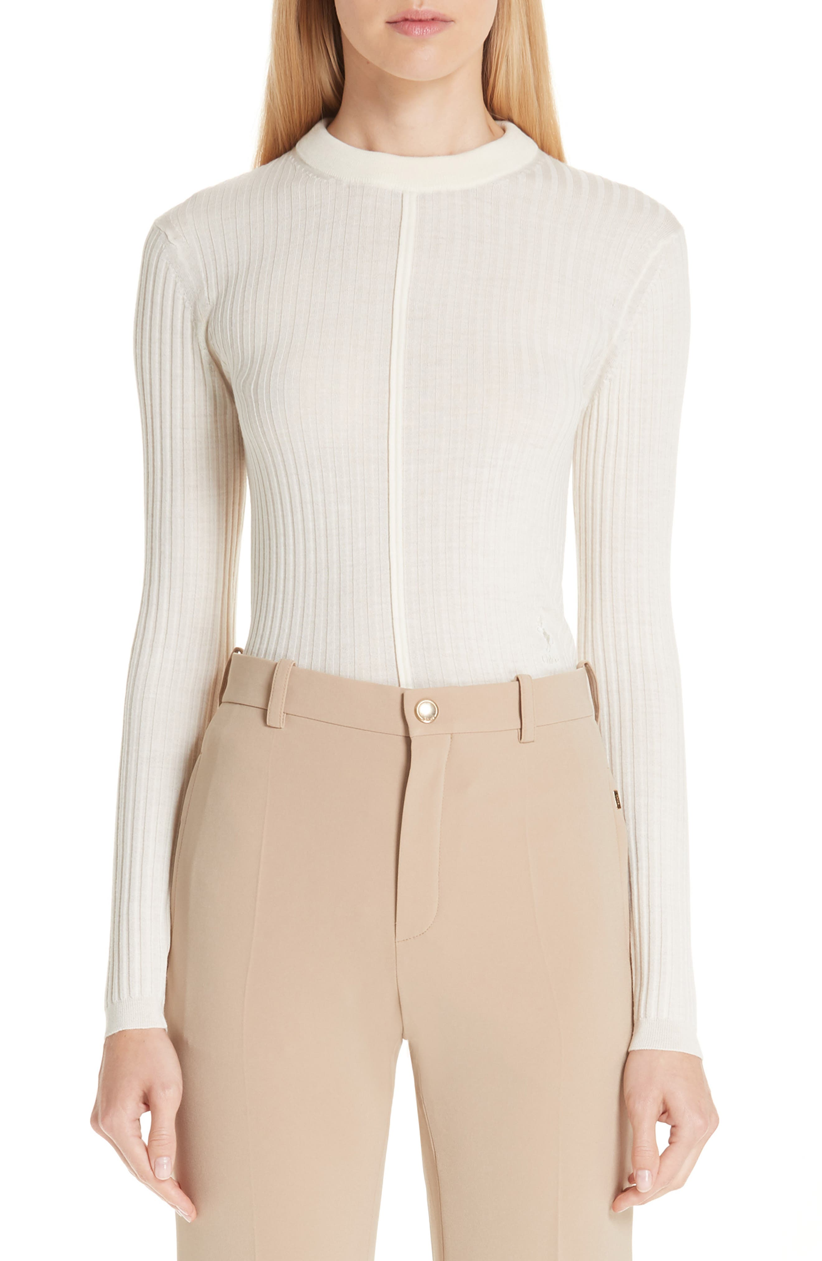 Chloe Fine Rib Wool Sweater, White