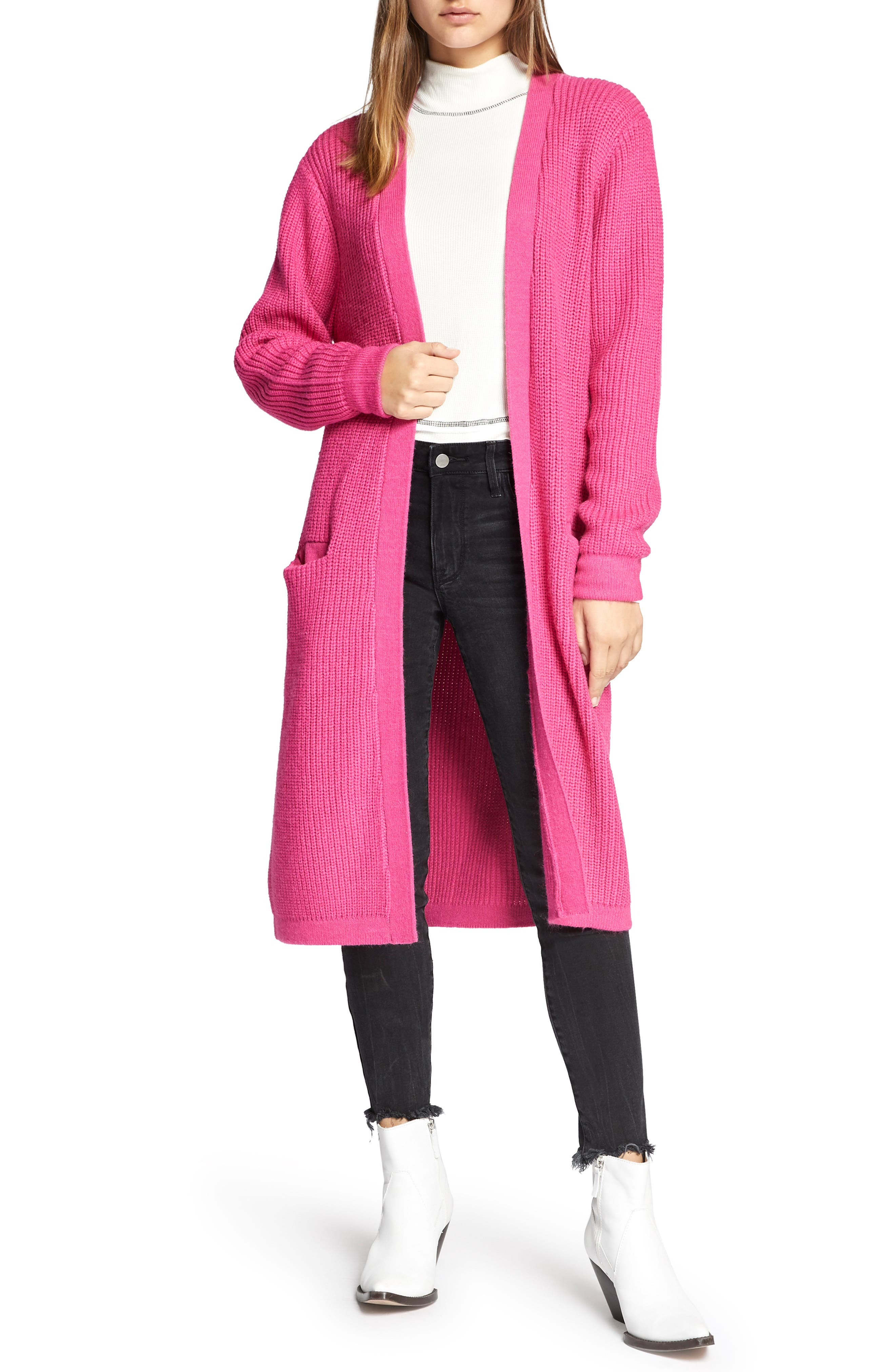Hit the Road Long Cardigan,                         Main,                         color, STREET PINK