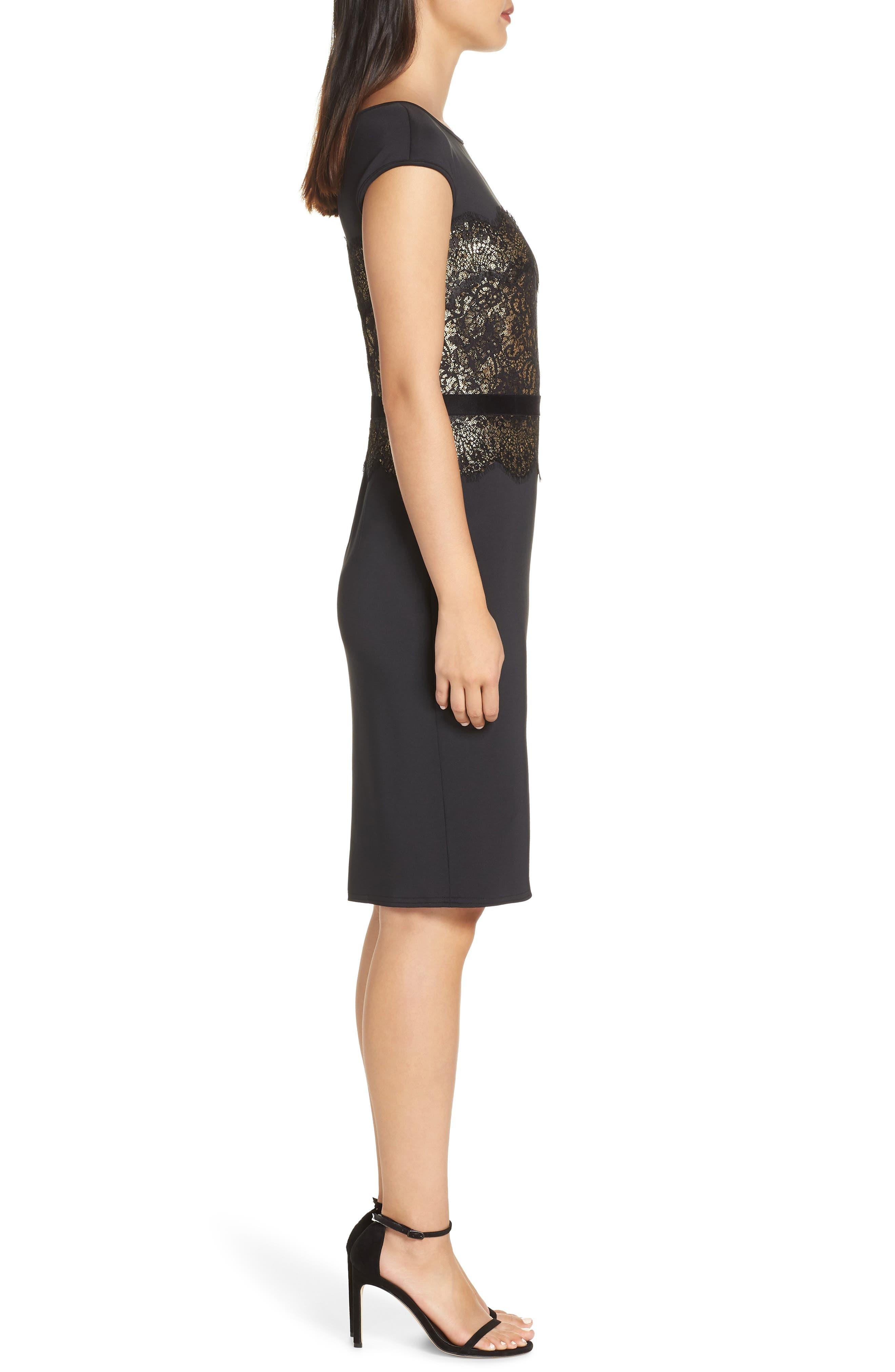 Lace Inset Scuba Dress,                             Alternate thumbnail 4, color,                             BLACK/ GOLD