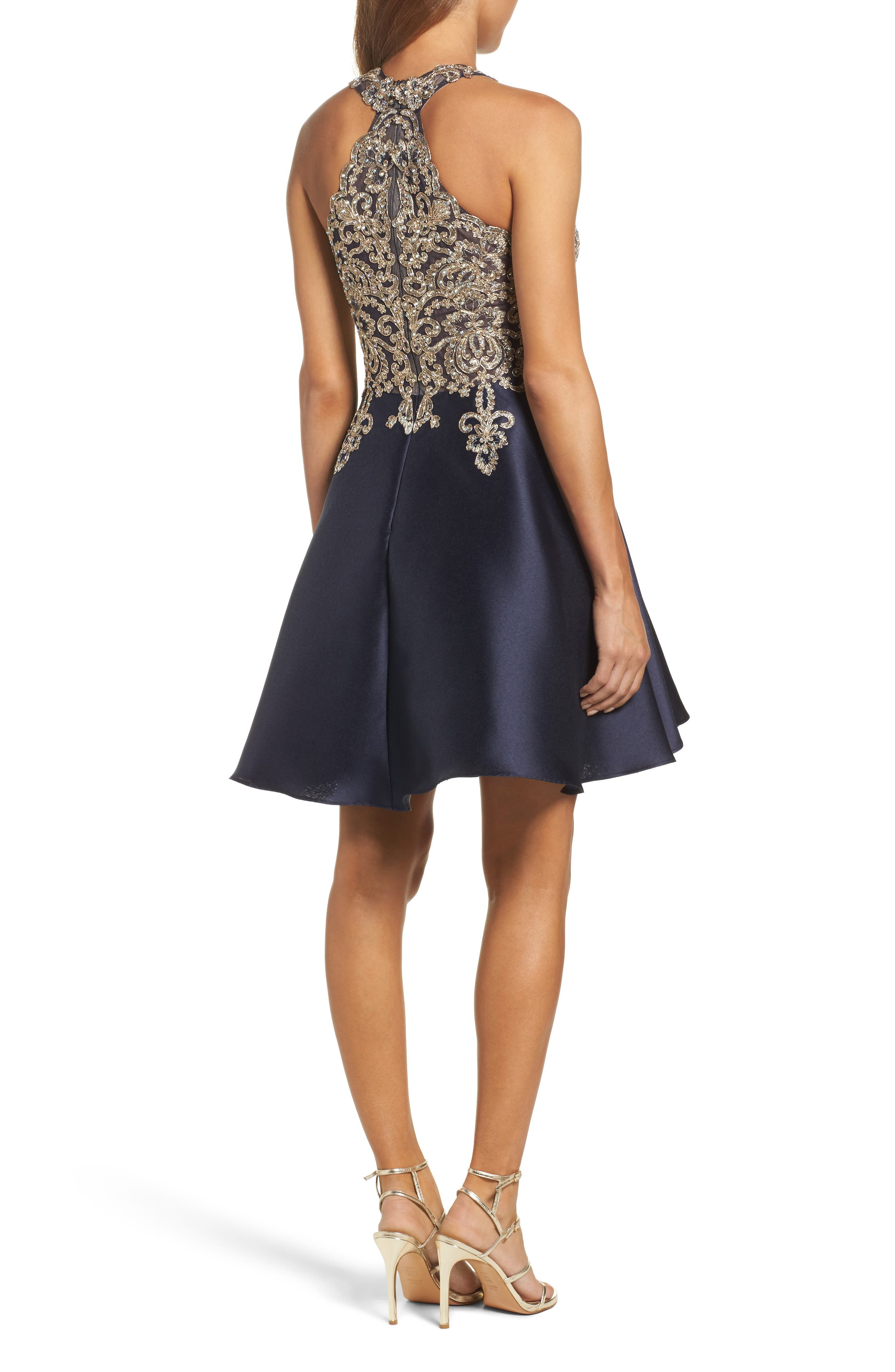 XSCAPE,                             Embellished Embroidered Mikado Party Dress,                             Alternate thumbnail 2, color,                             409