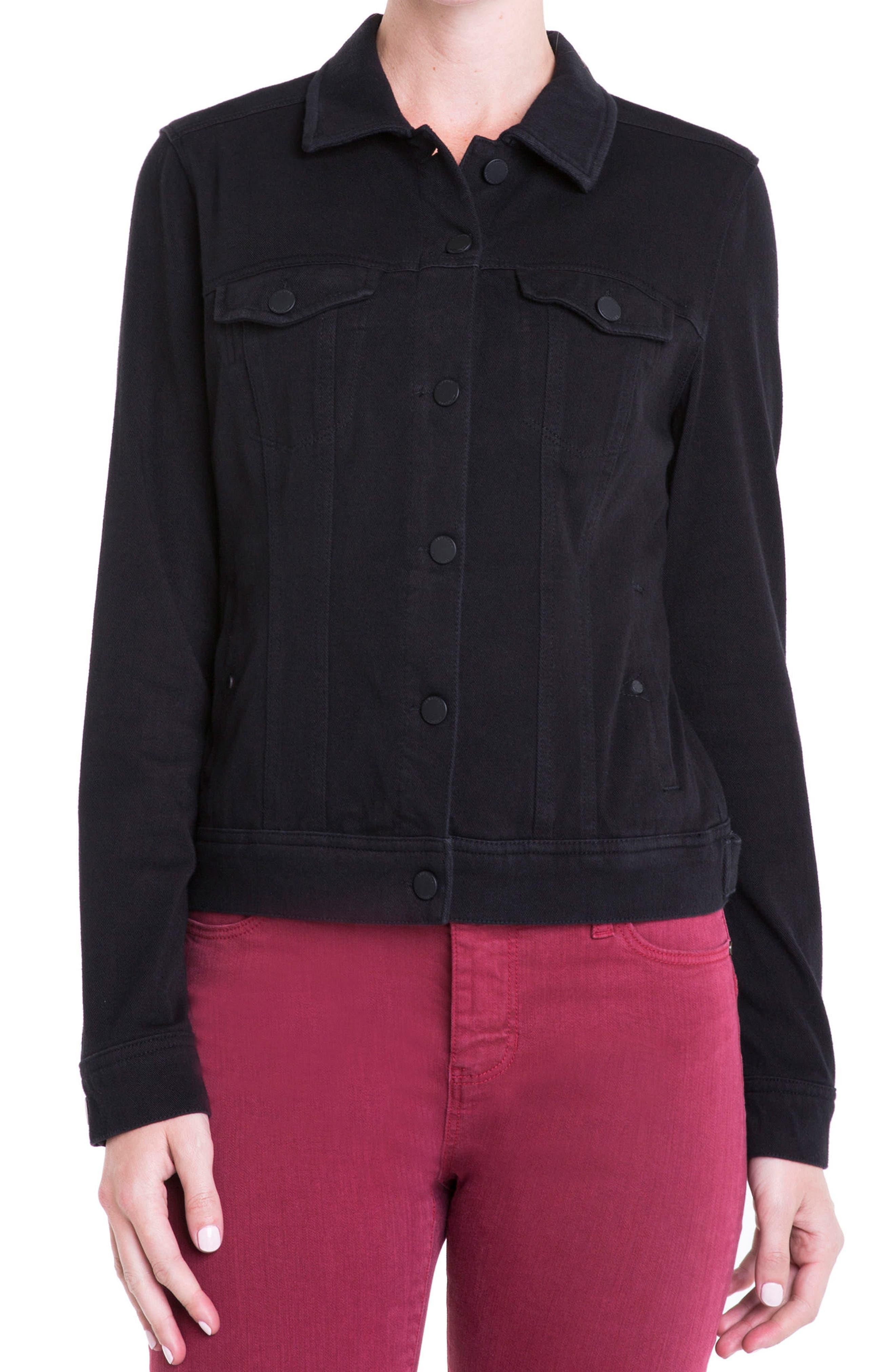 Jeans Co. Knit Denim Jacket,                             Main thumbnail 1, color,                             001