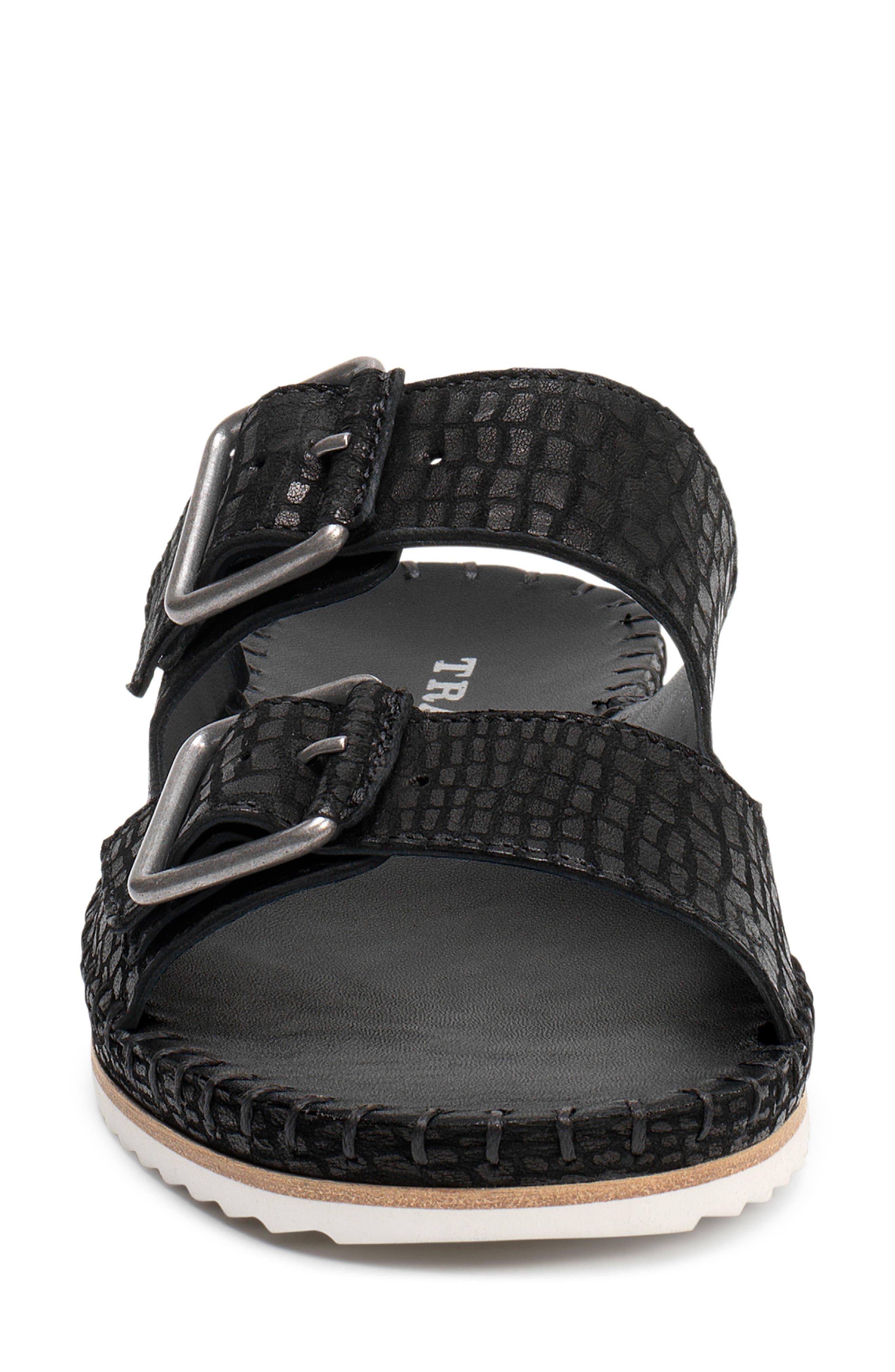Carli Slide Sandal,                             Alternate thumbnail 4, color,                             BLACK EMBOSSED LEATHER