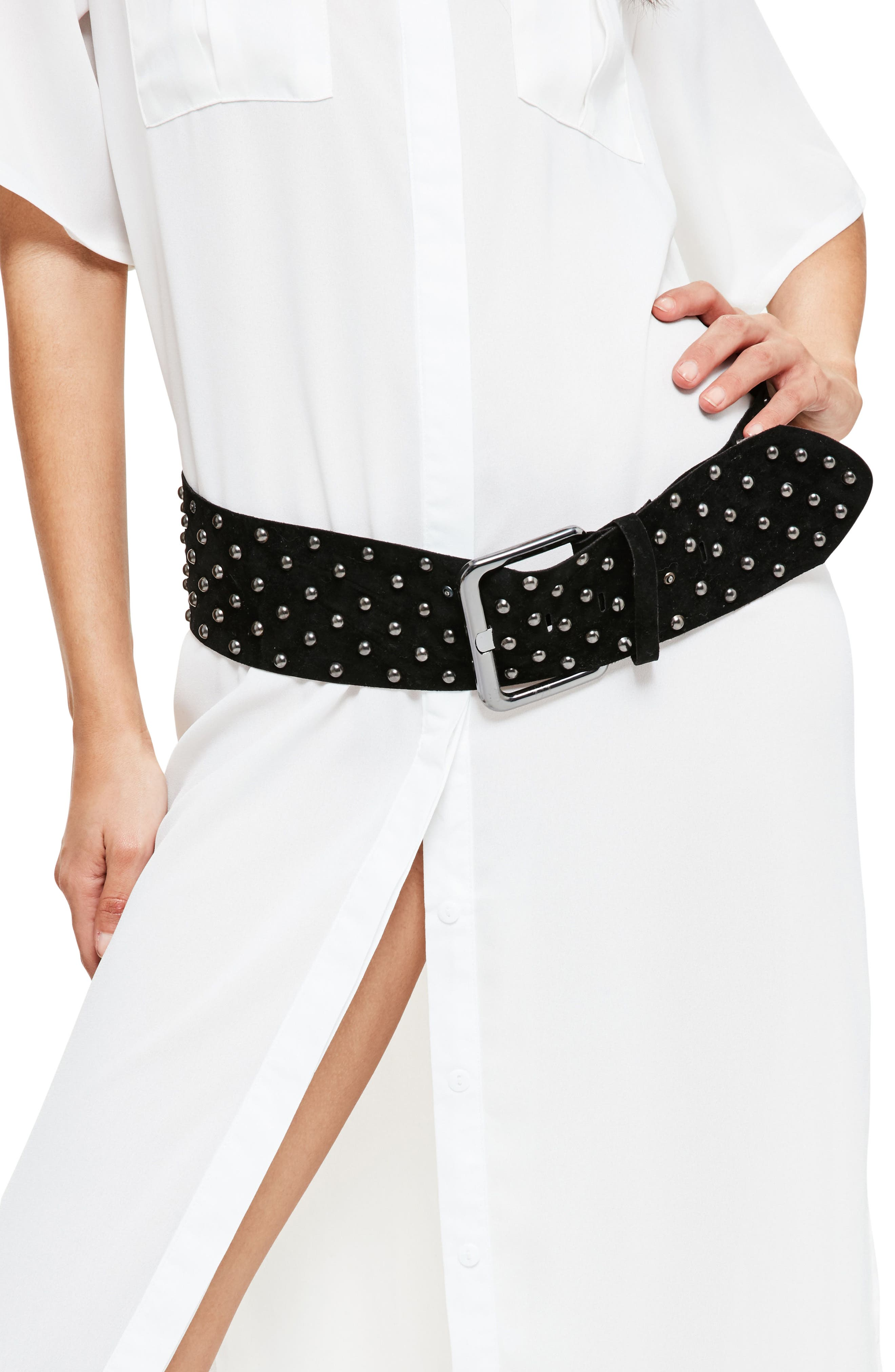 Studded Faux Suede Belt,                             Main thumbnail 1, color,                             001