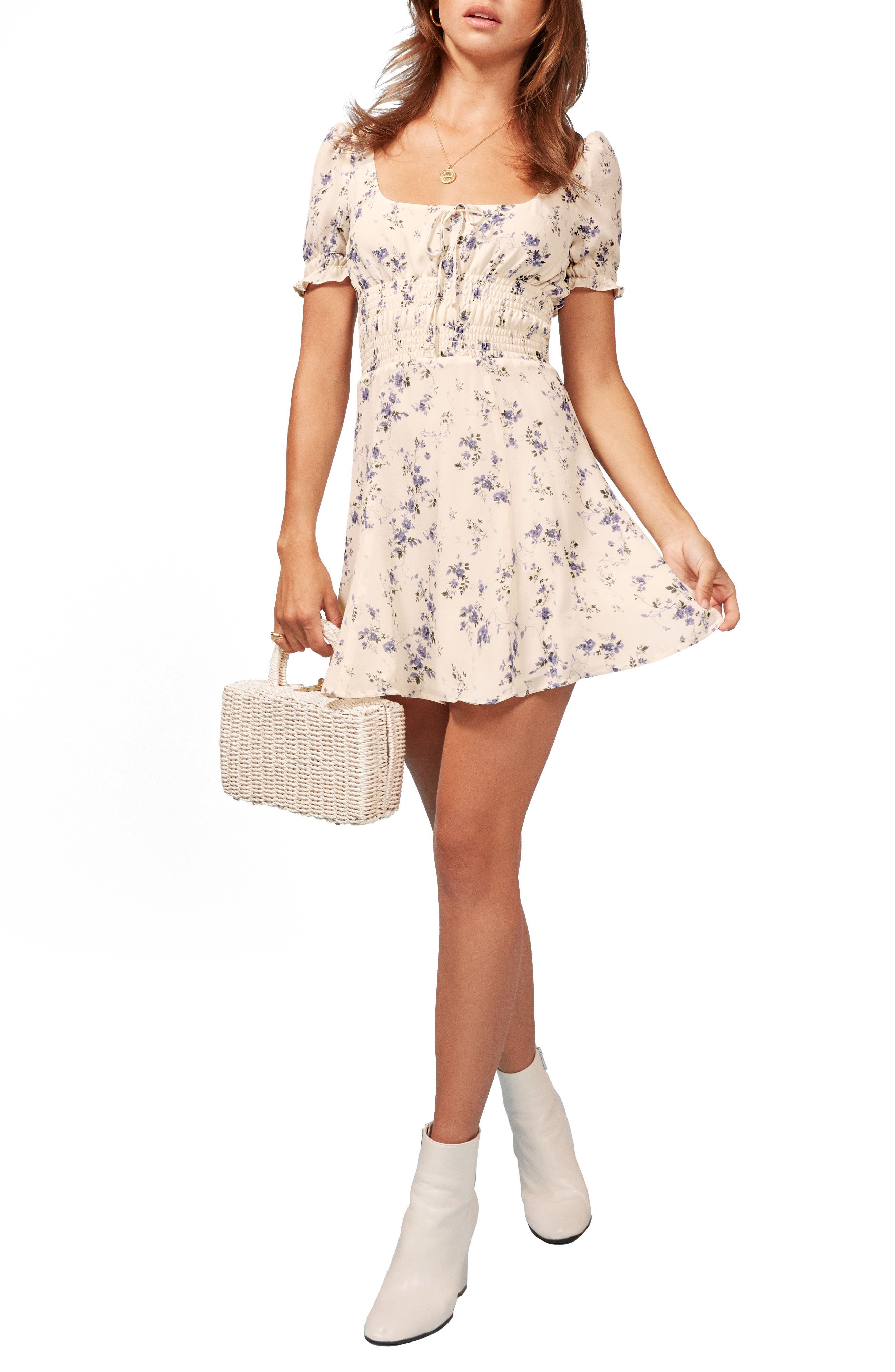 REFORMATION Linley Smocked Minidress, Main, color, 100