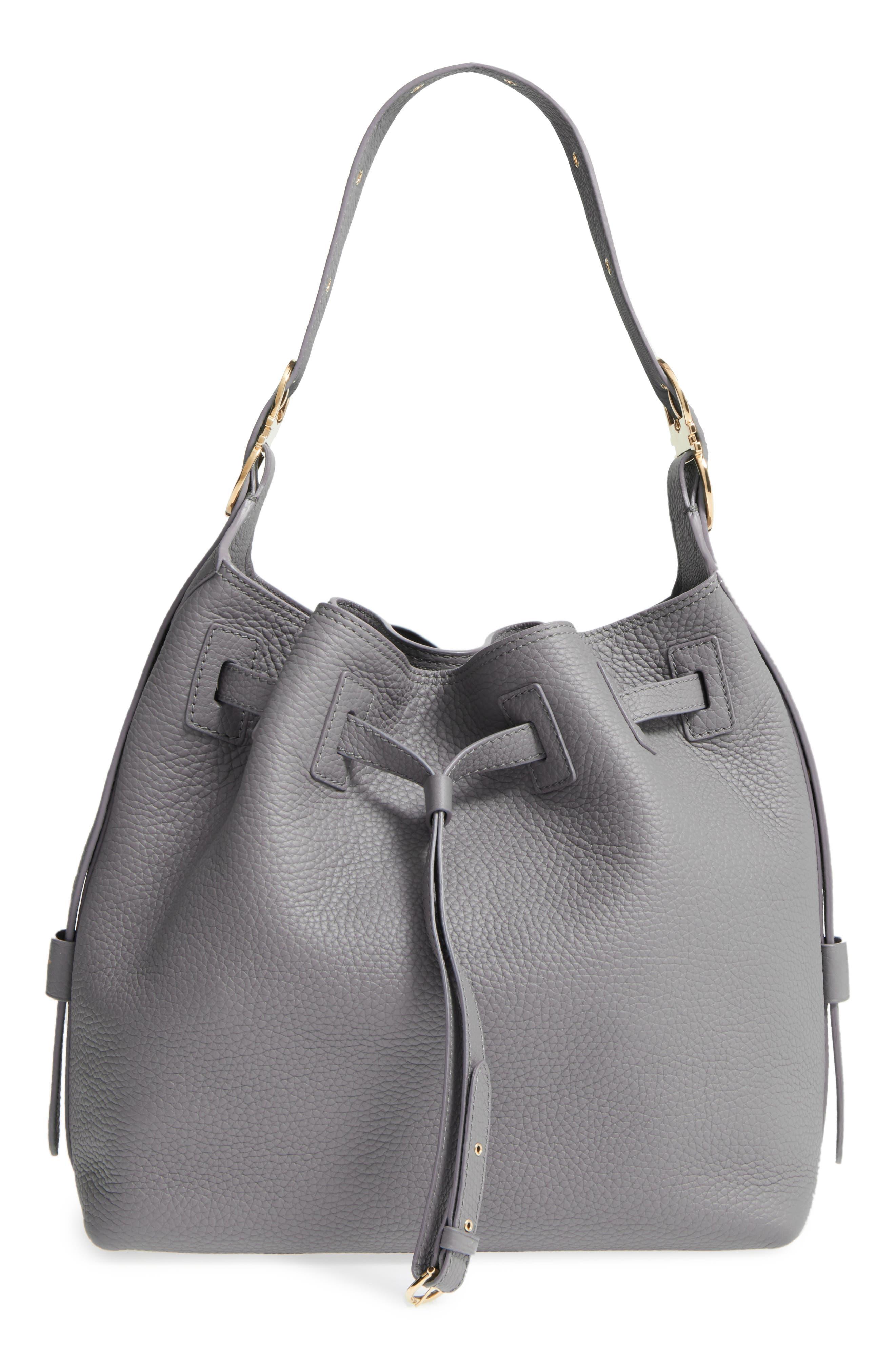 SALVATORE FERRAGAMO,                             Pebbled Leather Drawstring Bucket Bag,                             Main thumbnail 1, color,                             020