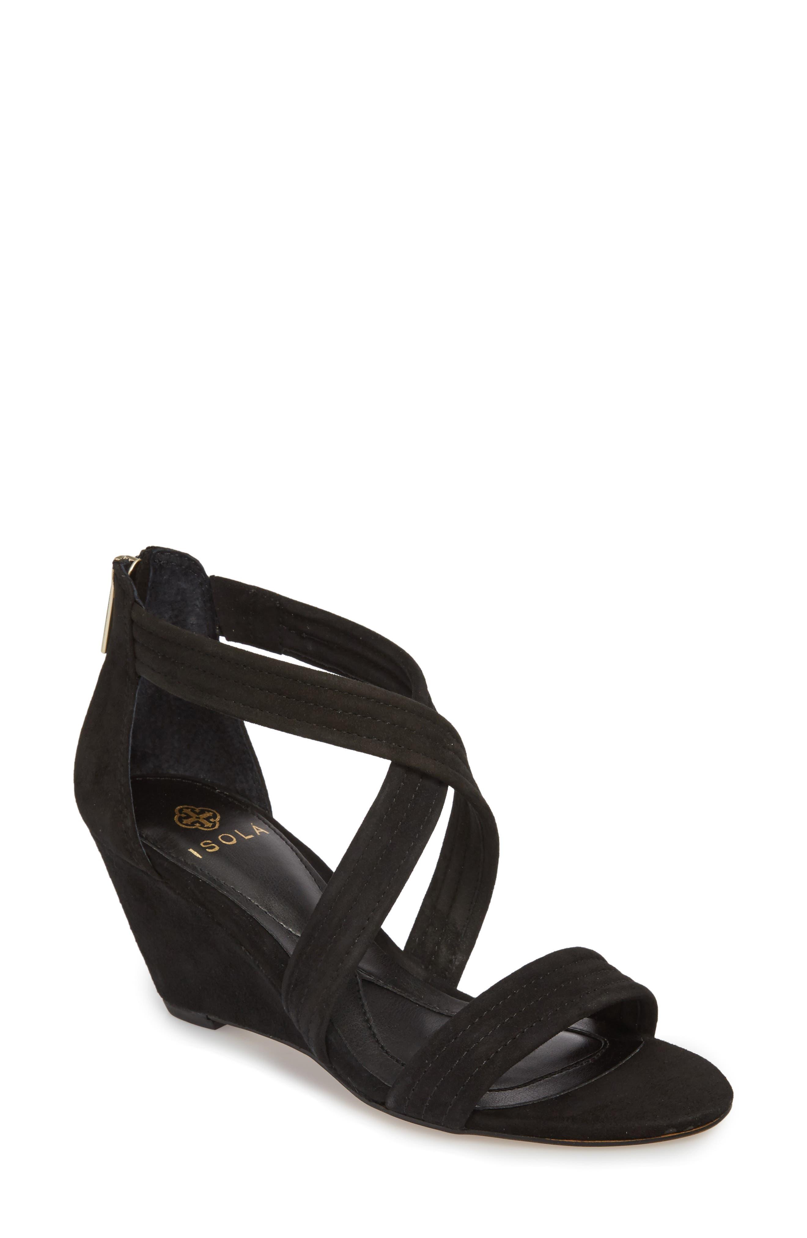 Fia Wedge Sandal,                         Main,                         color, BLACK SUEDE