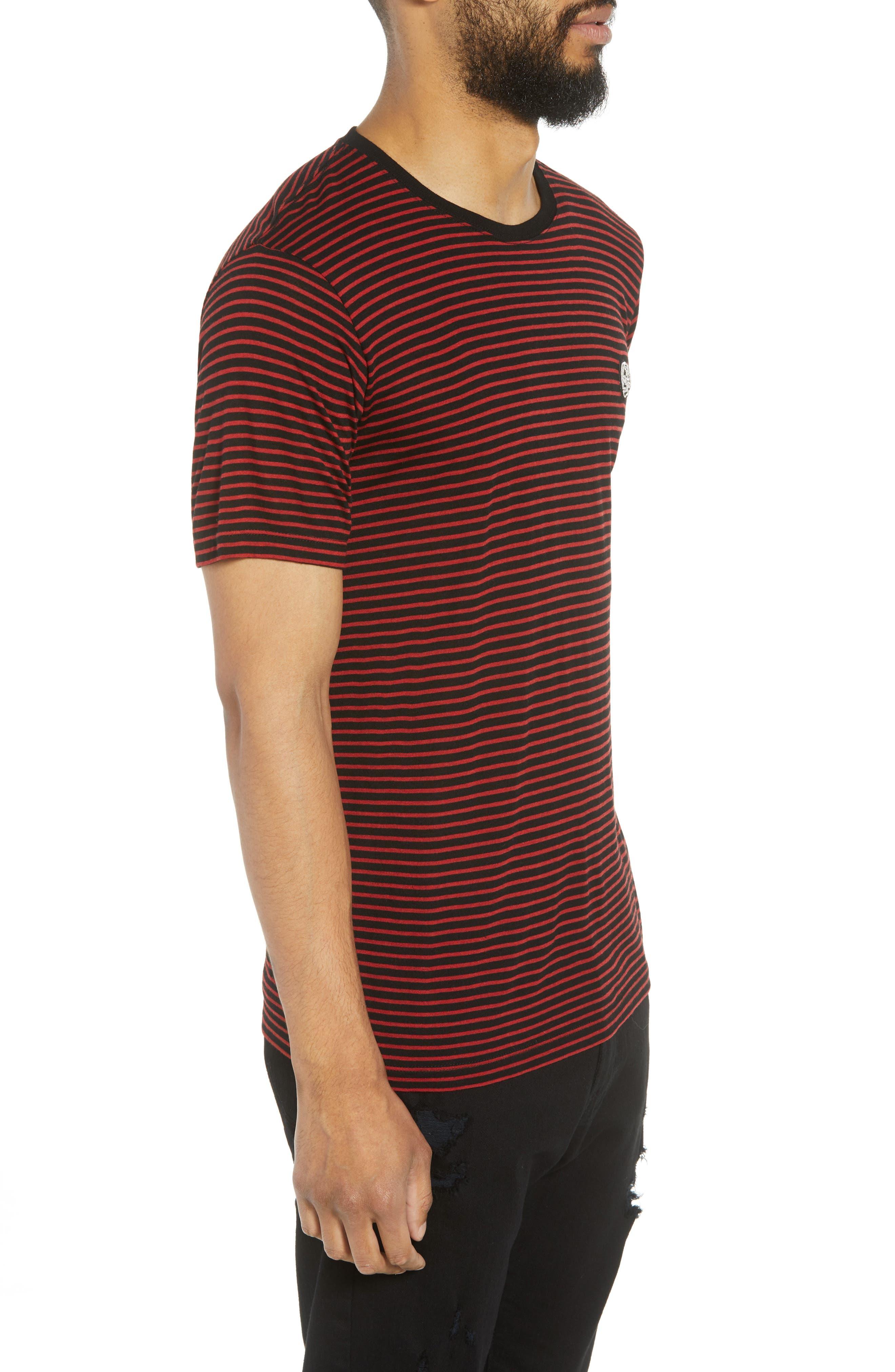 Skull Appliqué Striped Wool Blend T-Shirt,                             Alternate thumbnail 3, color,                             001