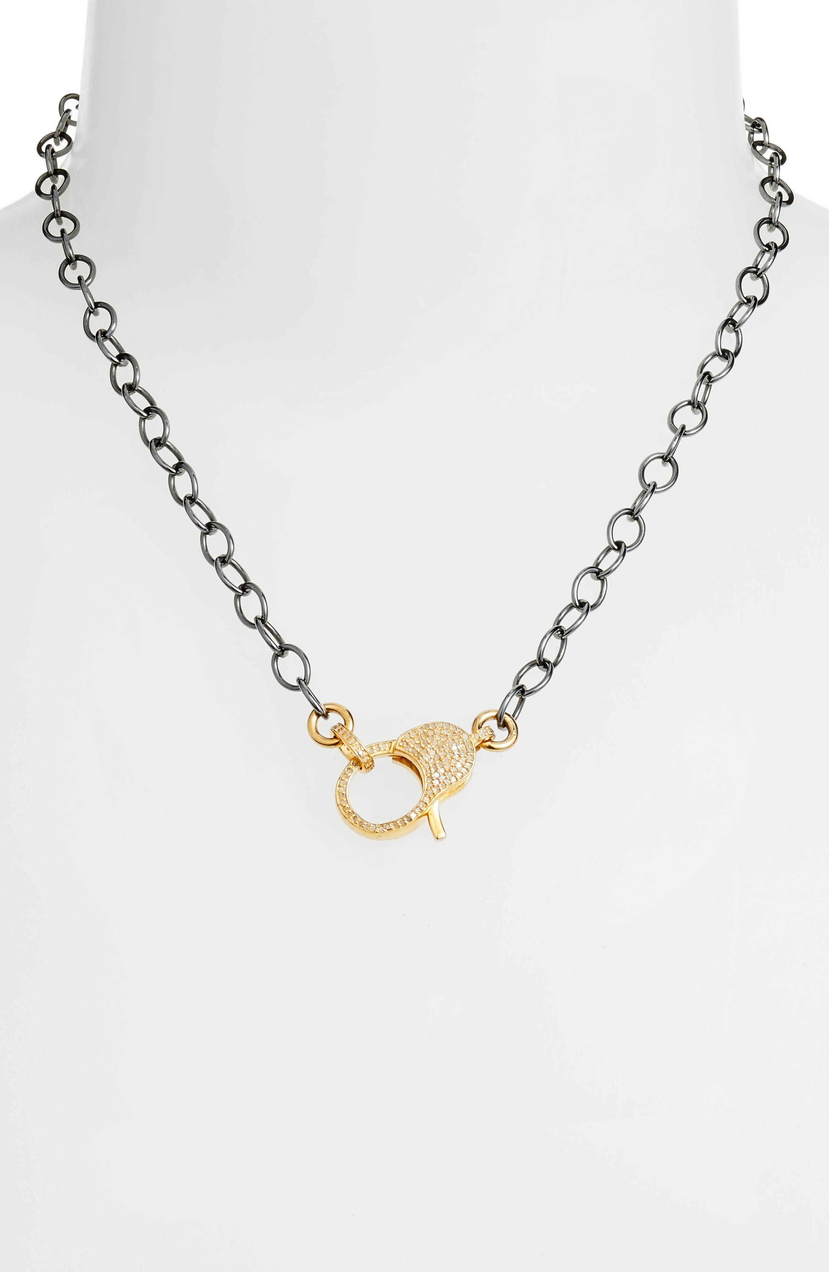 Jane Basch Pavé Lock Chain Necklace,                             Alternate thumbnail 2, color,                             GOLD/ BLACK