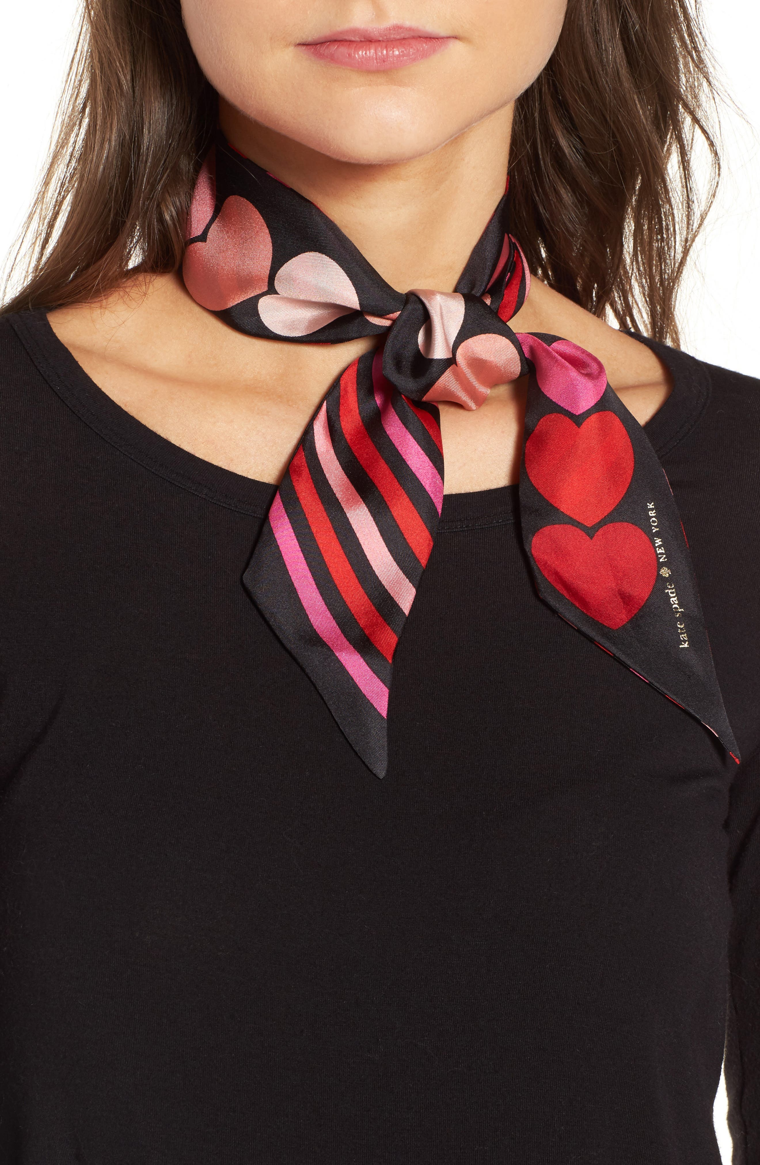 heart stripe silk skinny scarf,                         Main,                         color,