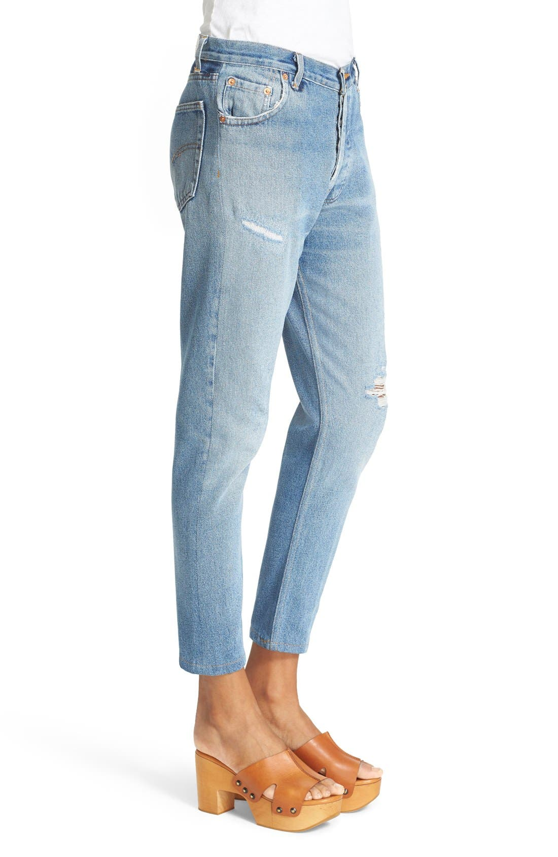 RE/DONE,                             Reconstructed High Waist Ankle Crop Jeans,                             Alternate thumbnail 6, color,                             400