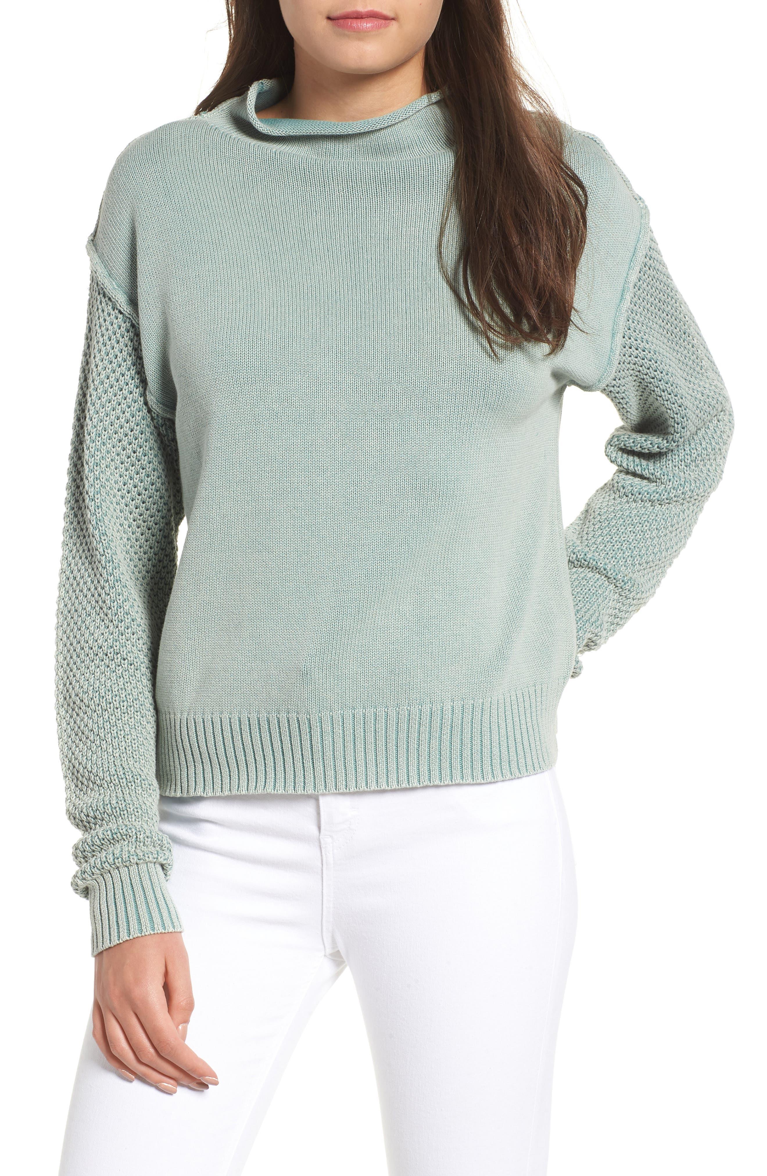 Exposed Seam Sweater,                             Main thumbnail 1, color,                             SEA WASH