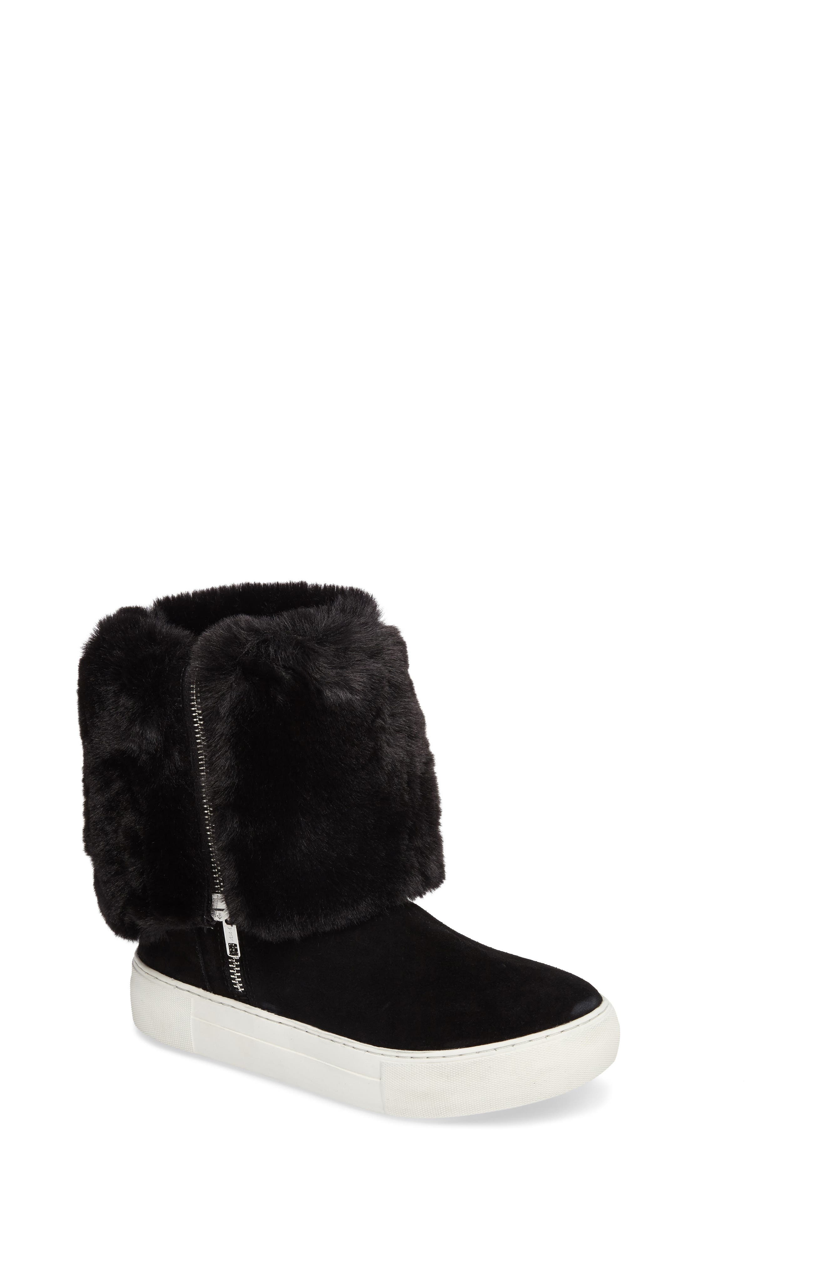 Apple Faux Shearling Boot,                         Main,                         color, BLACK SUEDE