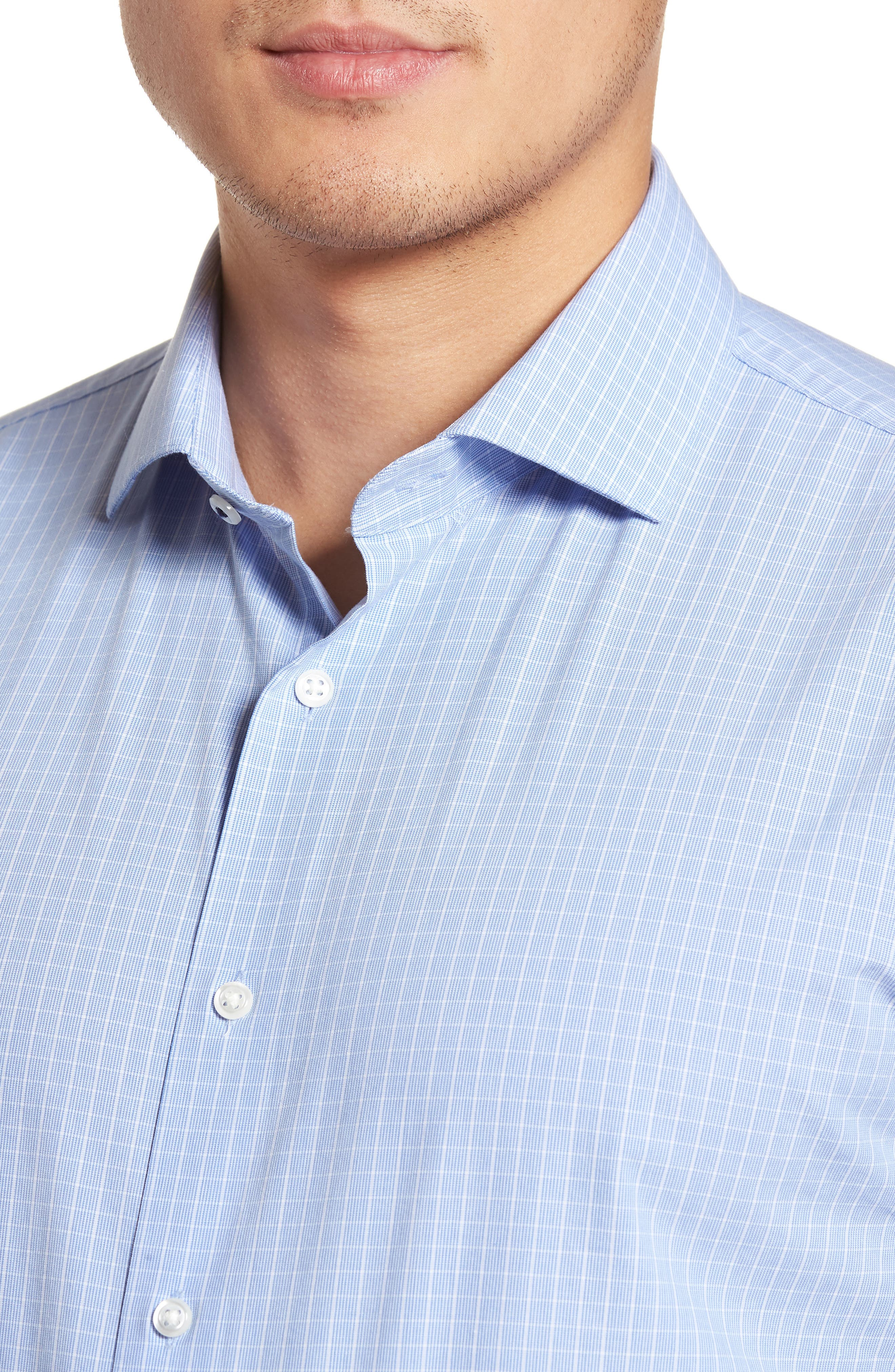 Tech-Smart Trim Fit Stretch Grid Dress Shirt,                             Alternate thumbnail 2, color,                             450