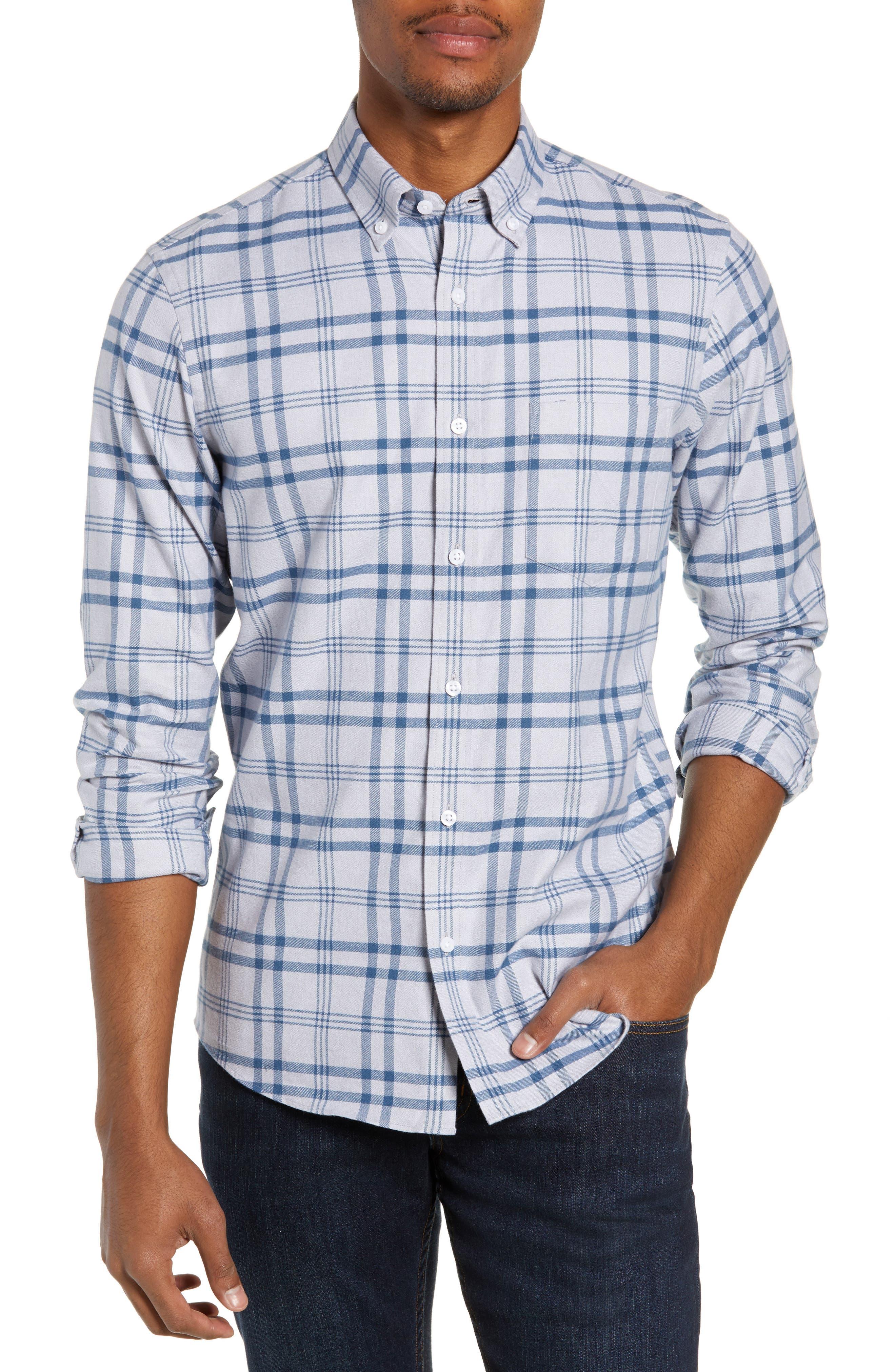 Nordstrom Shop Plaid Sport Shirt, Grey