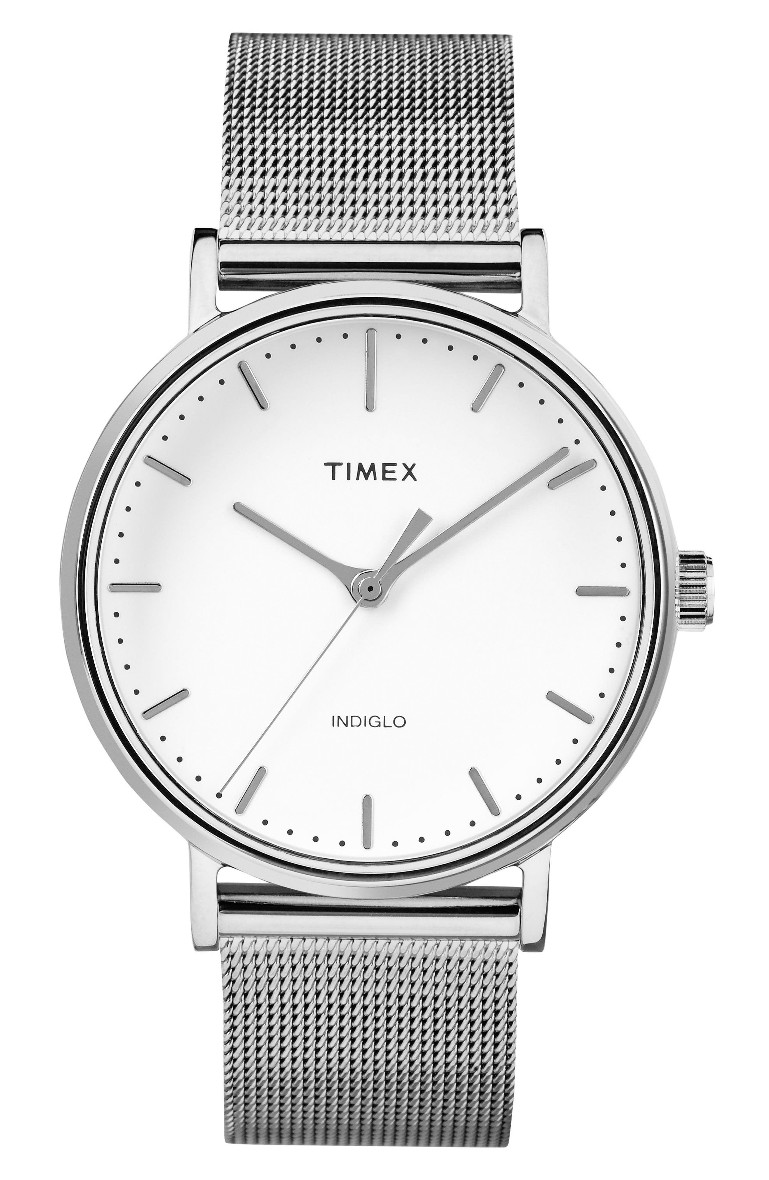 Fairfield Mesh Strap Watch, 37mm,                         Main,                         color, SILVER/ WHITE/ SILVER