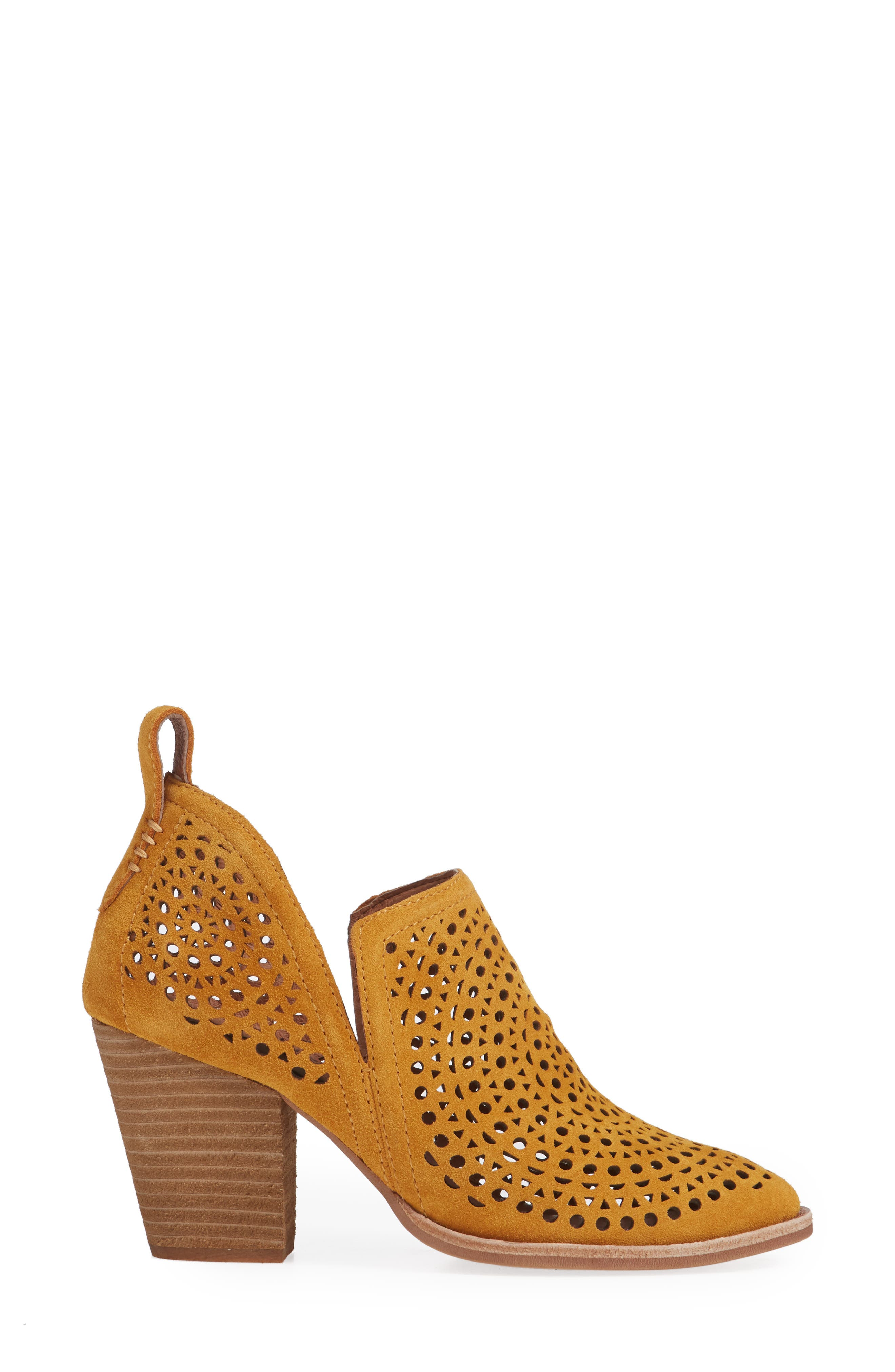 Rosalee Bootie,                             Alternate thumbnail 3, color,                             MUSTARD SUEDE