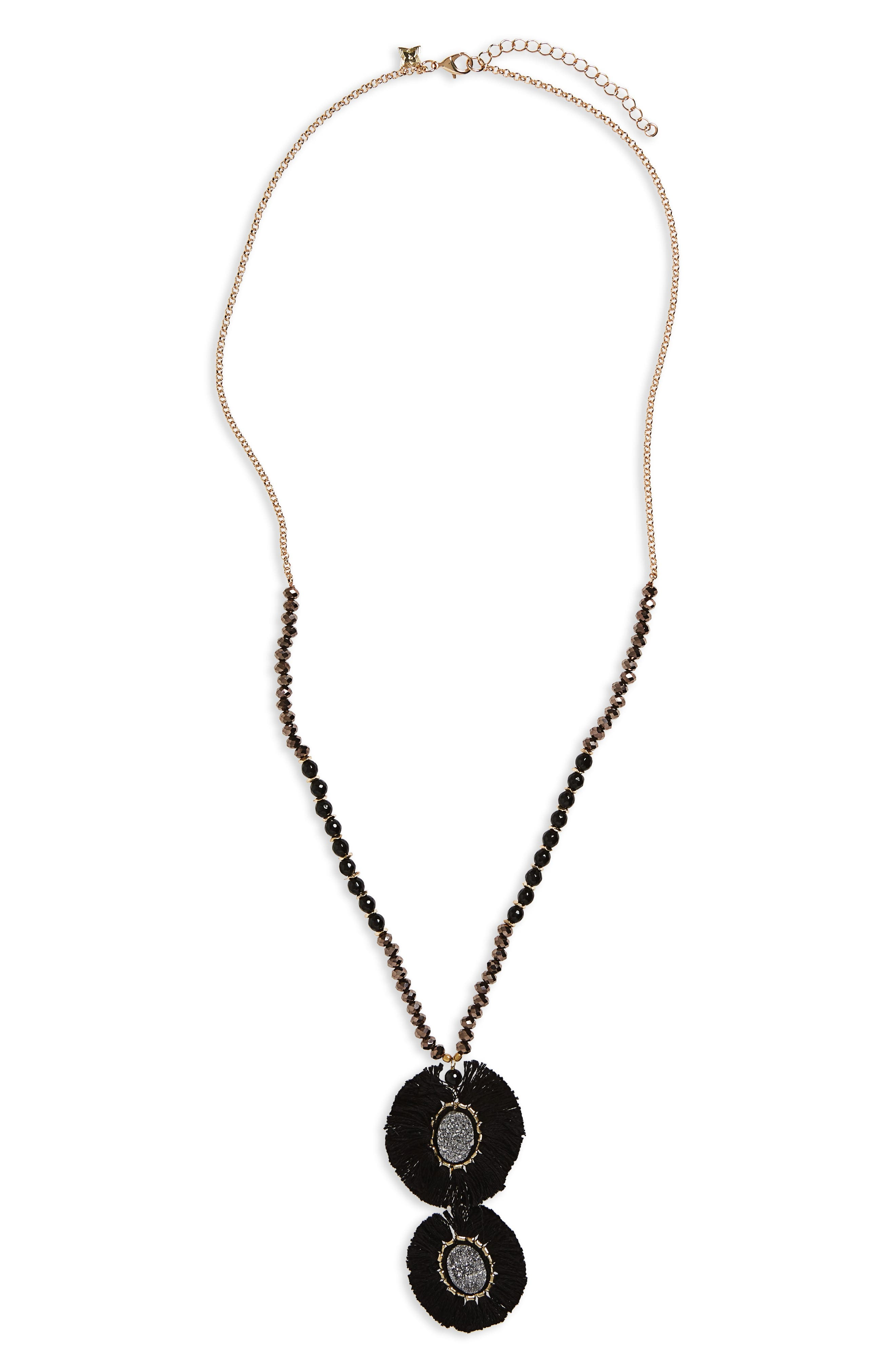 Circle Fringe Pendant Necklace,                             Main thumbnail 1, color,                             001