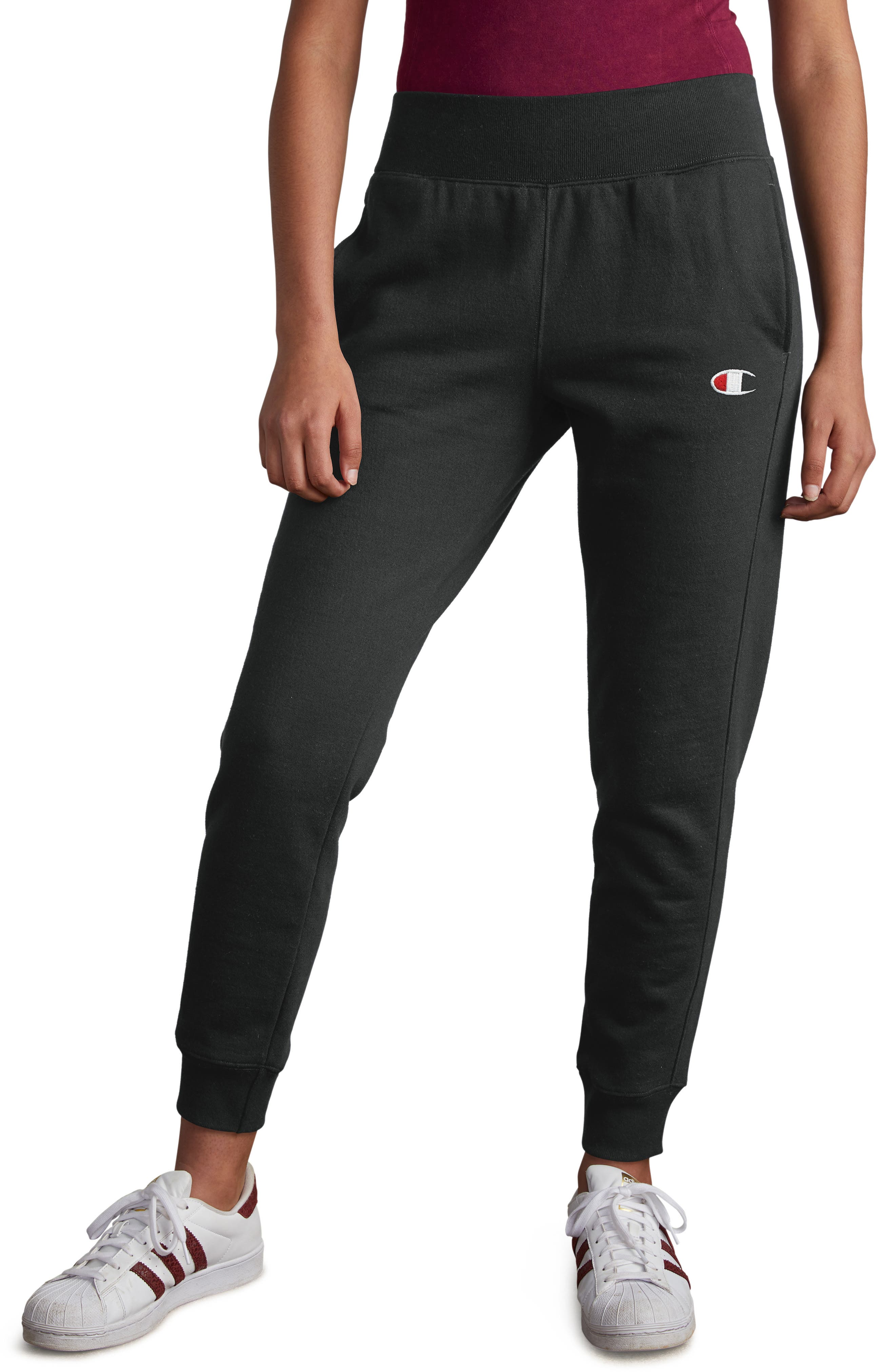 Reverse Weave Jogger Pants,                         Main,                         color, BLACK