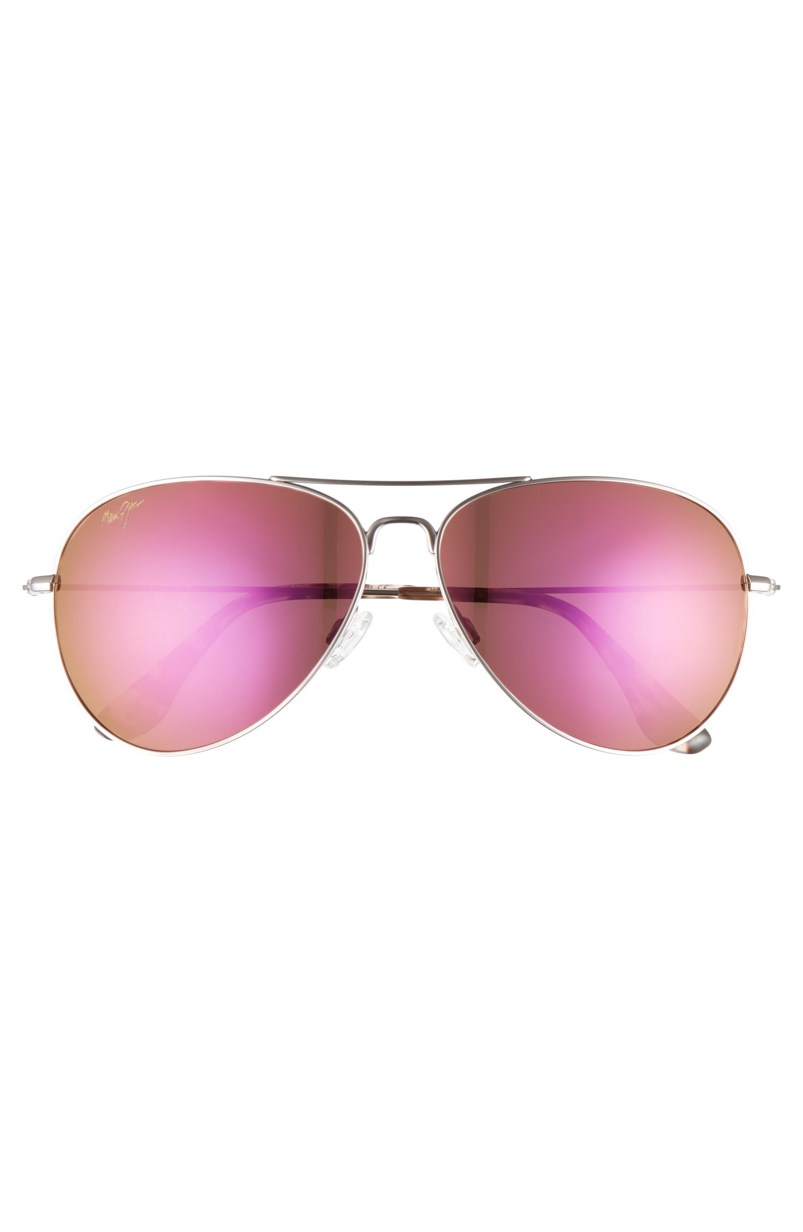 Mavericks 61mm PolarizedPlus2<sup>®</sup> Aviator Sunglasses,                             Alternate thumbnail 3, color,                             ROSE GOLD/ MAUI SUNRISE