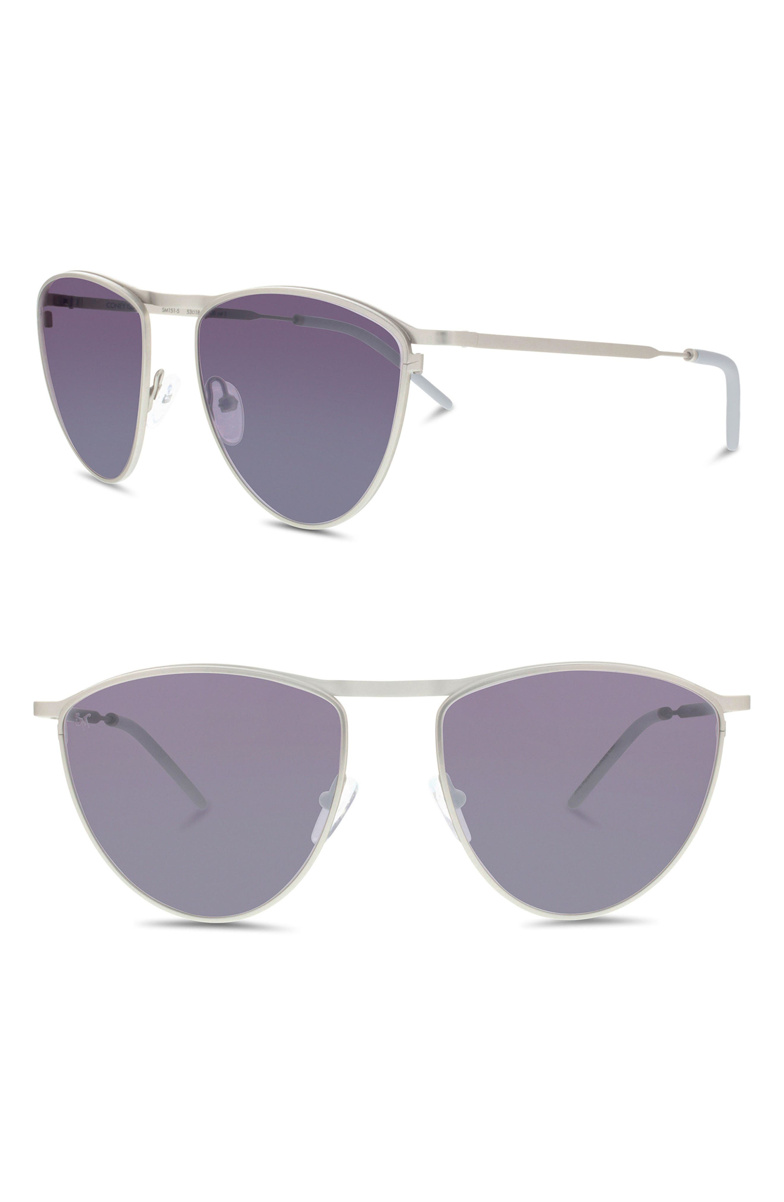 Coney Island 53mm Round Sunglasses,                             Main thumbnail 1, color,                             SILVER