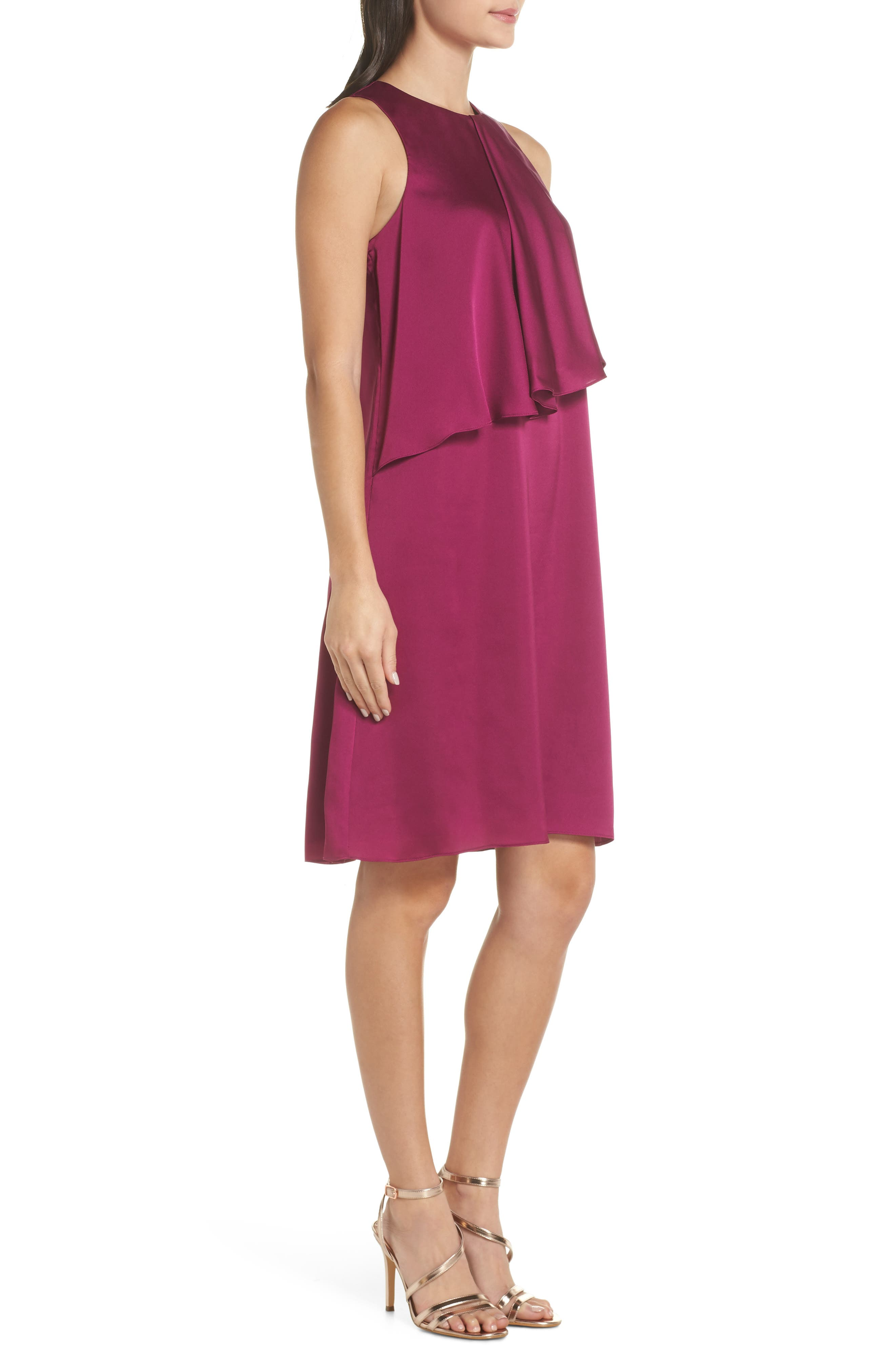The Georgie Shift Dress,                             Alternate thumbnail 3, color,                             BERRY