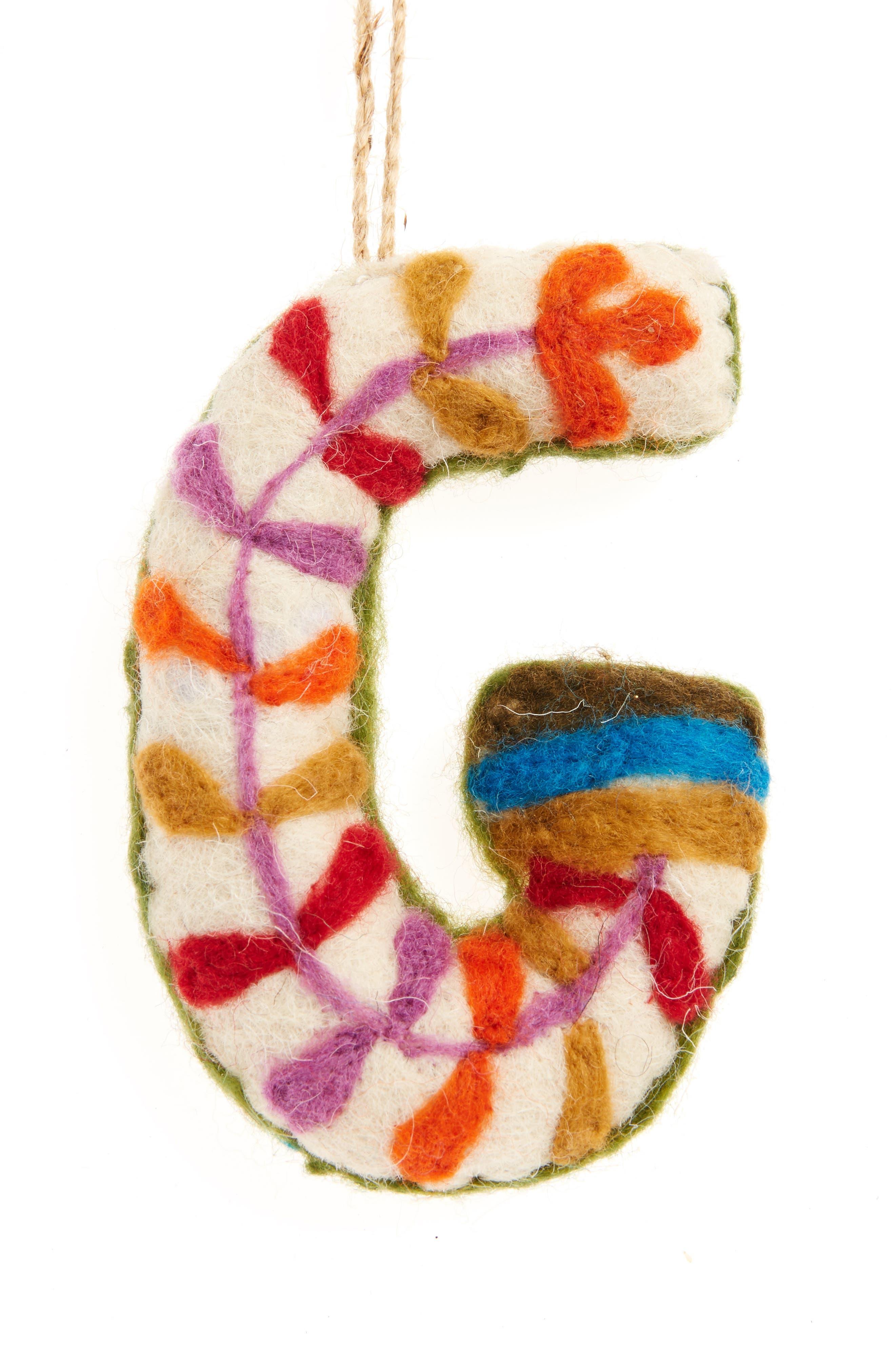 Global Folk Wool Monogram Ornament,                             Main thumbnail 7, color,