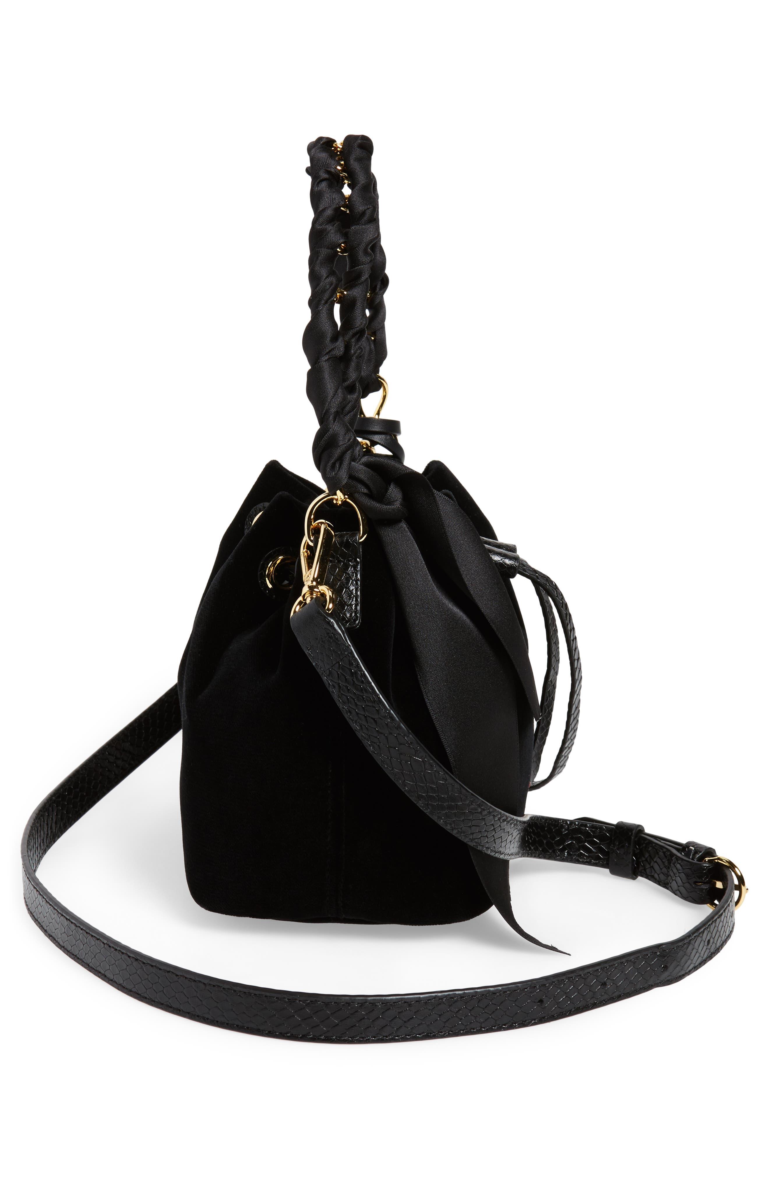 Small Velvet Bucket Bag,                             Alternate thumbnail 5, color,                             001