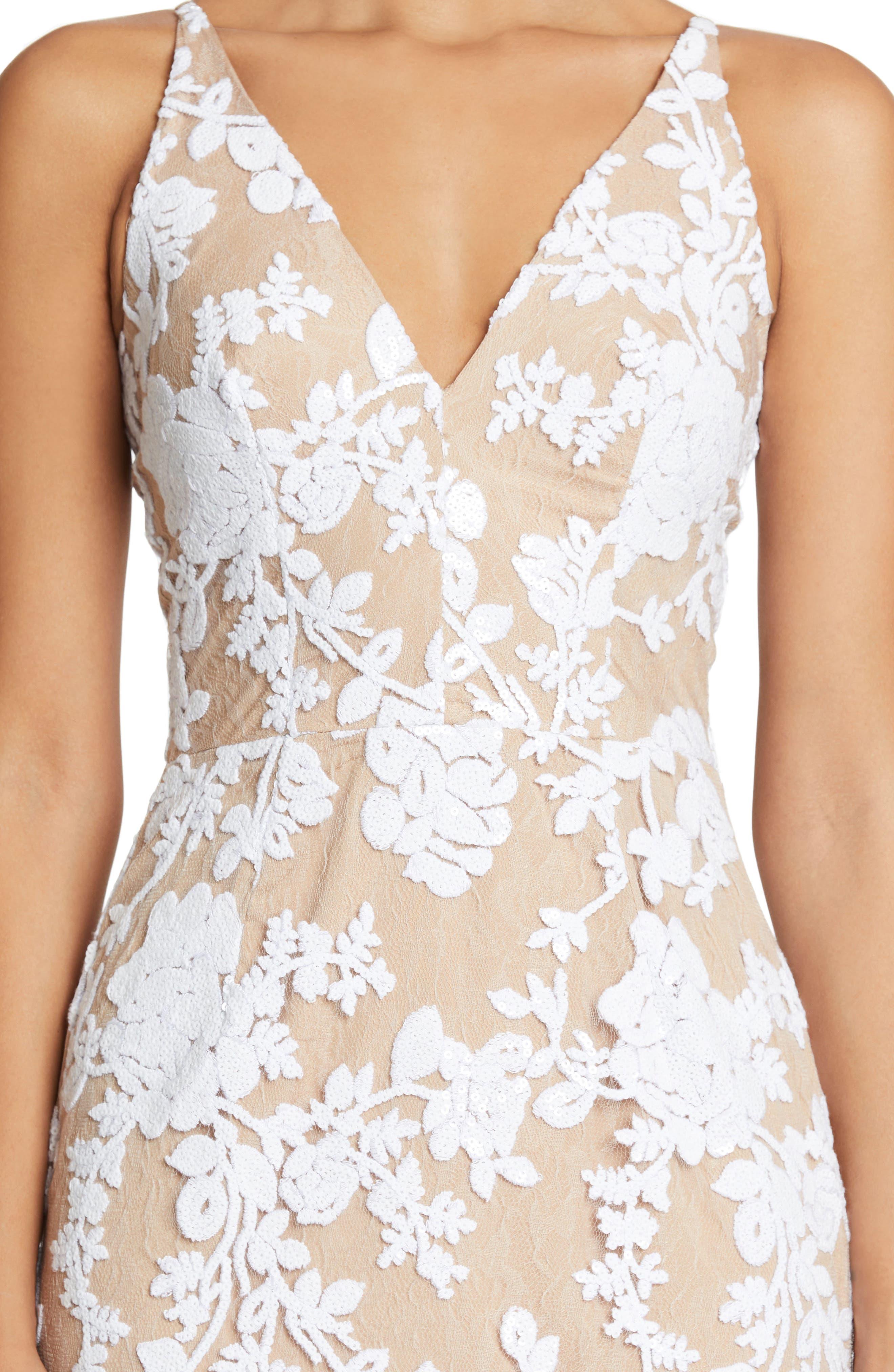 Rebecca Floral Lace Midi Dress,                             Alternate thumbnail 8, color,