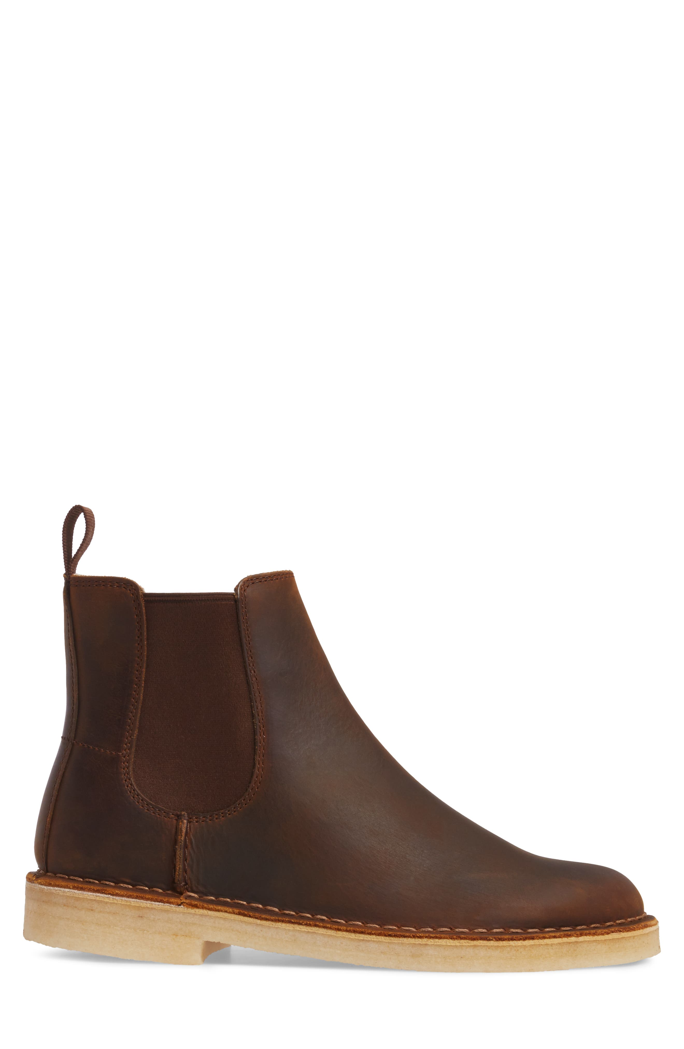 CLARKS<SUP>®</SUP>,                             Desert Peak Chelsea Boot,                             Alternate thumbnail 3, color,                             MEDIUM BROWN BEESWAX LEATHER