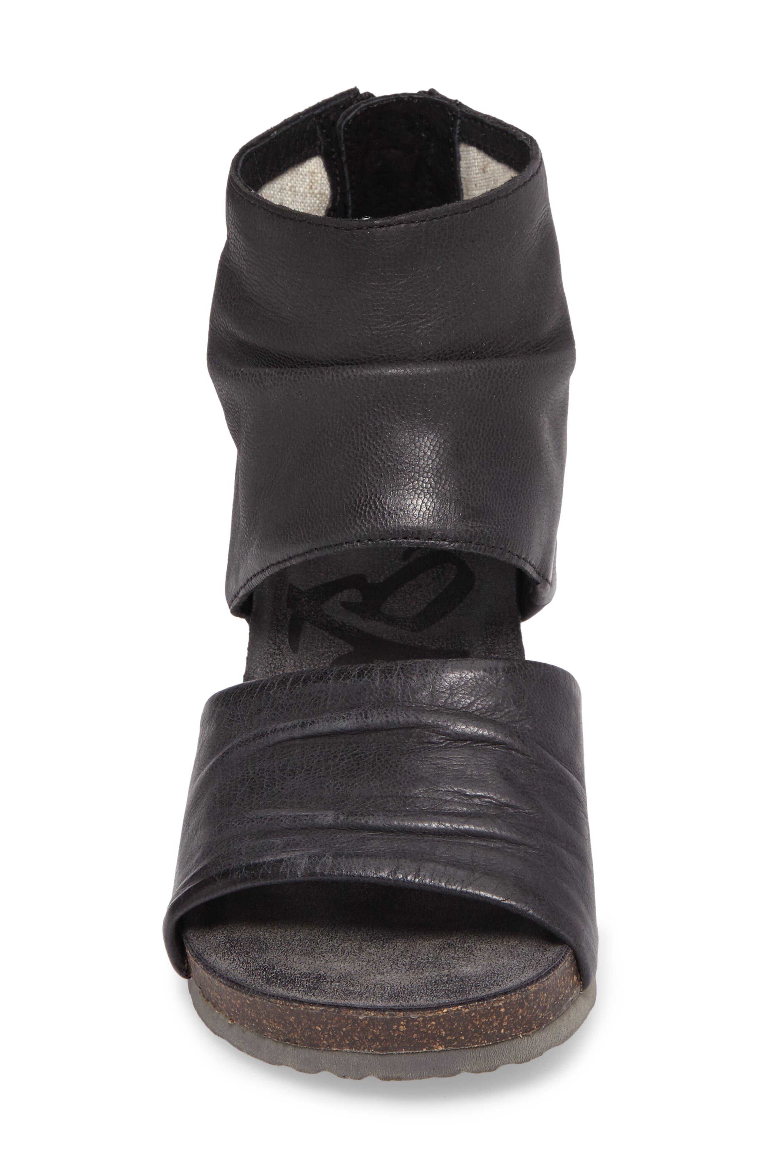 Patchouli Open Toe Bootie,                             Alternate thumbnail 4, color,                             BLACK LEATHER