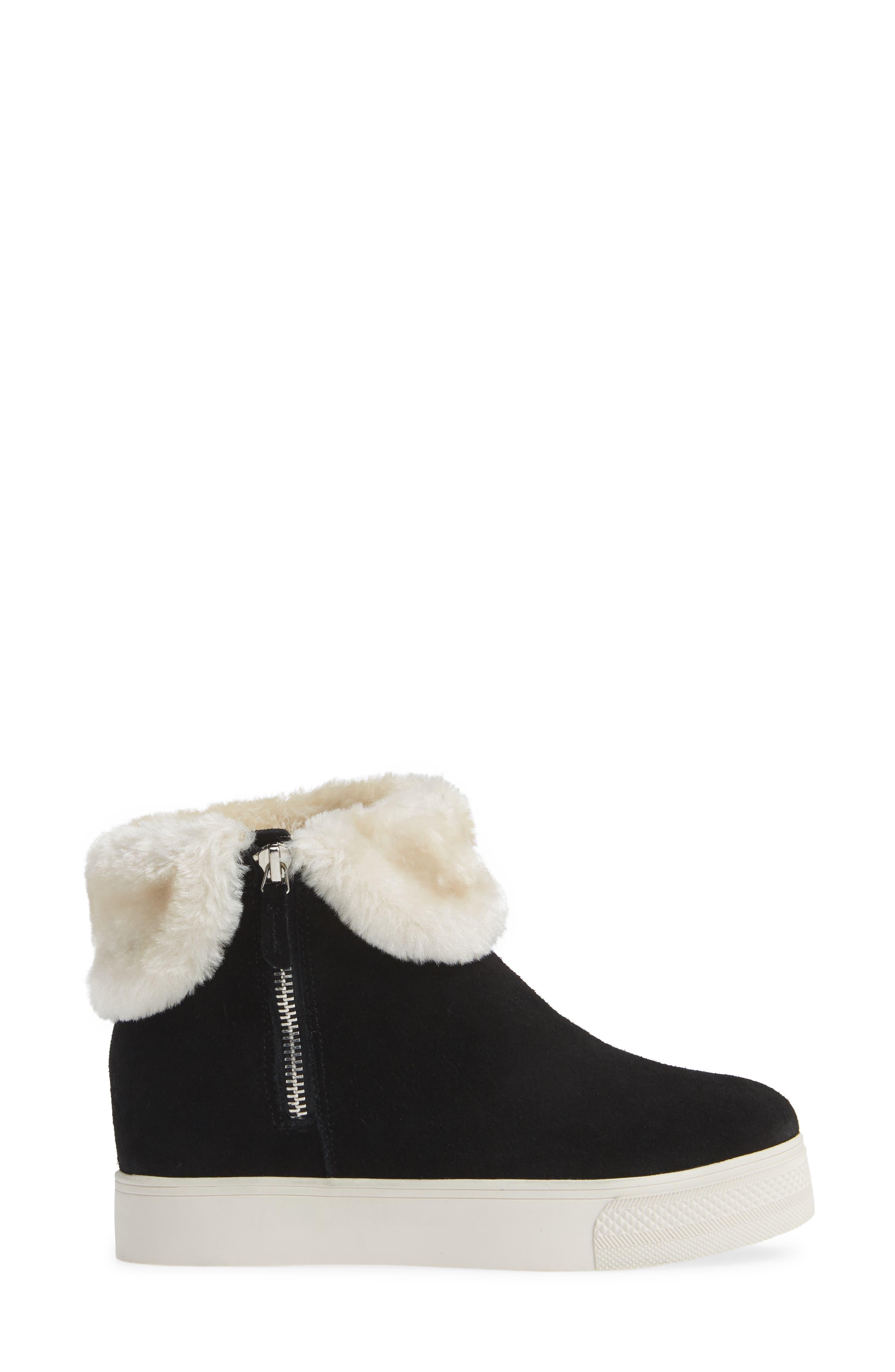 STEVE MADDEN,                             Faux Fur Lined Sneaker,                             Alternate thumbnail 3, color,                             006