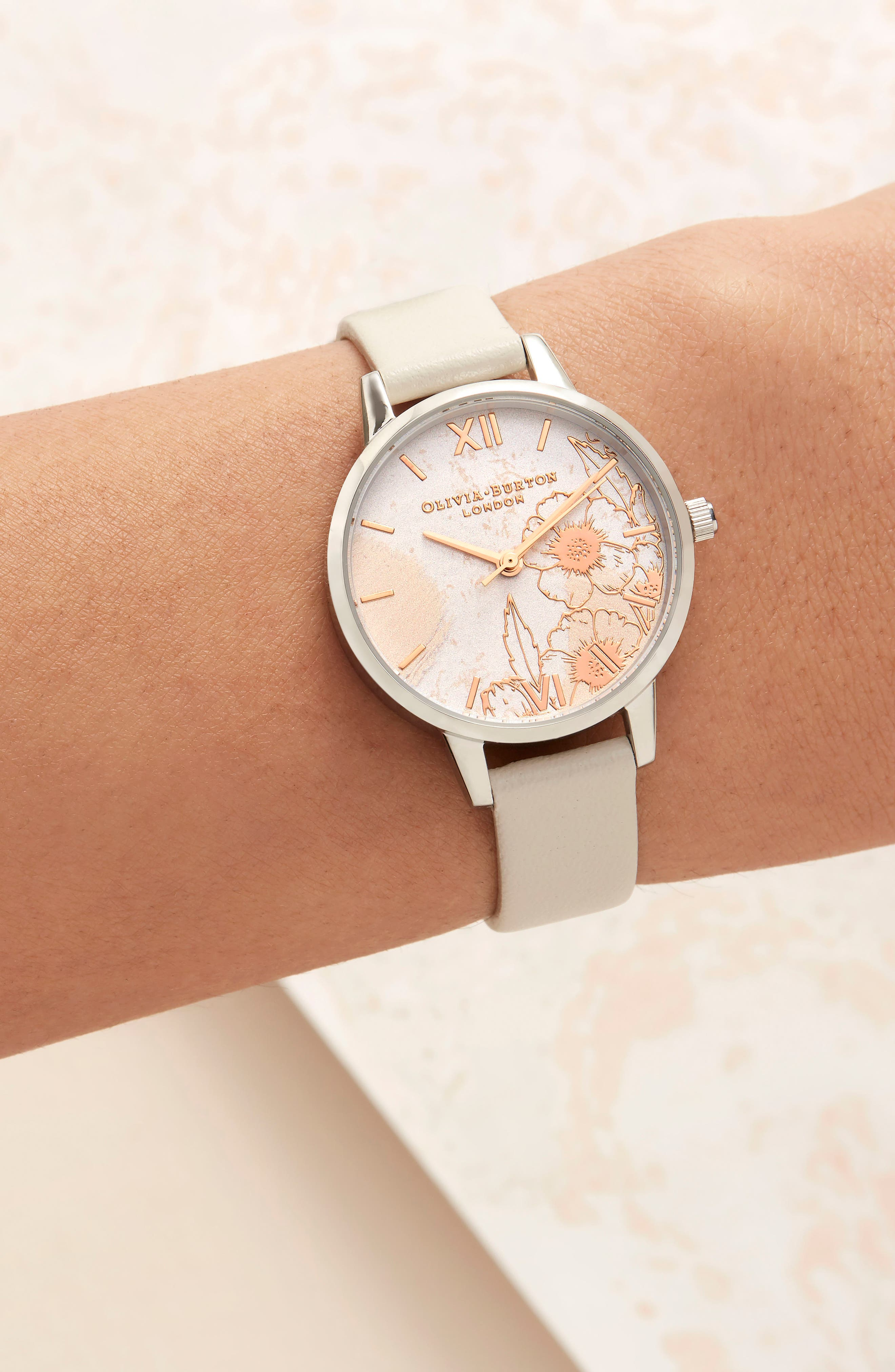 Abstract Floral Leather Strap Watch, 30mm,                             Alternate thumbnail 6, color,                             NUDE PEACH/ FLORAL/ SILVER