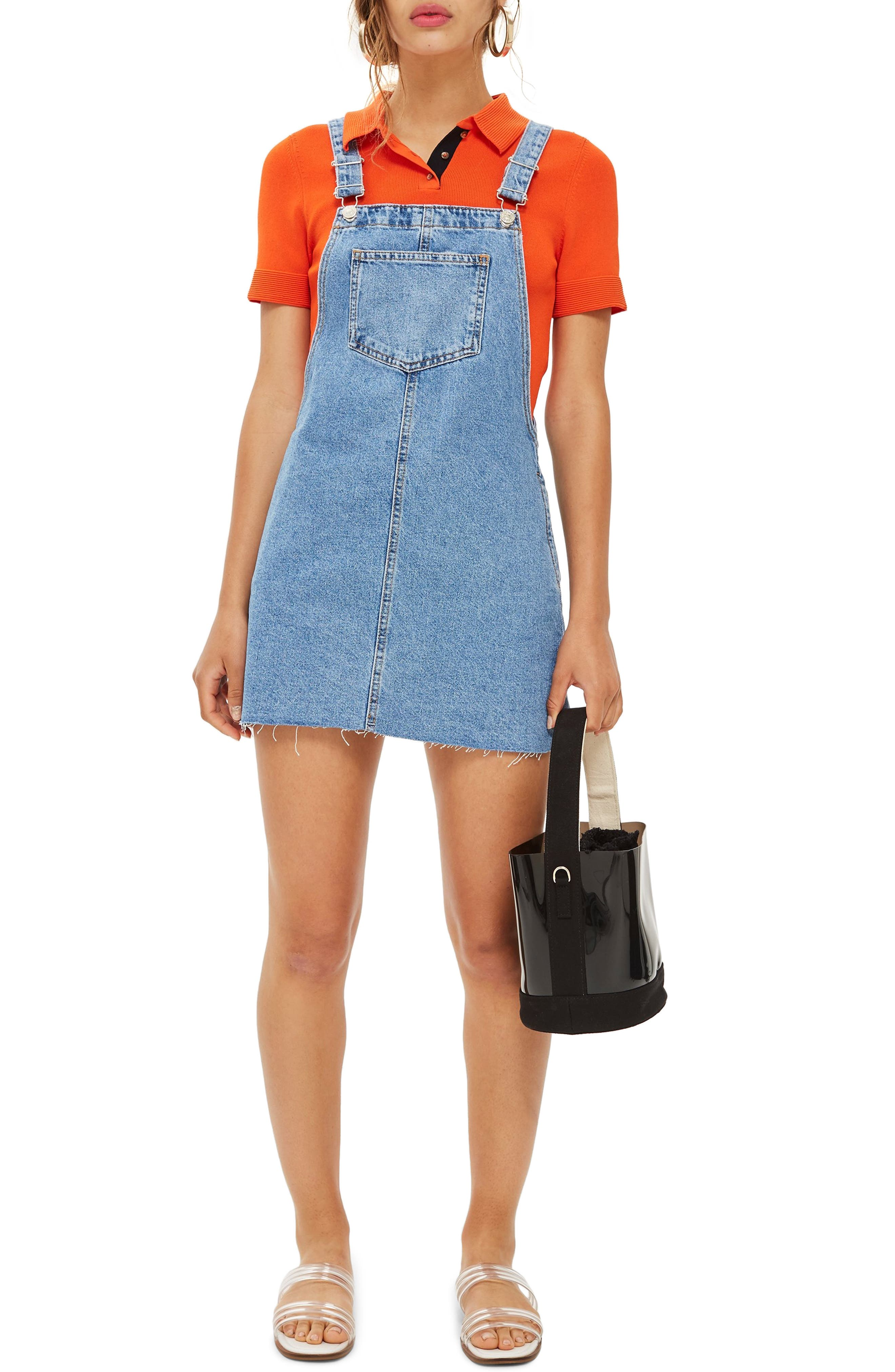 Petite Topshop Raw Hem Denim Pinafore Dress