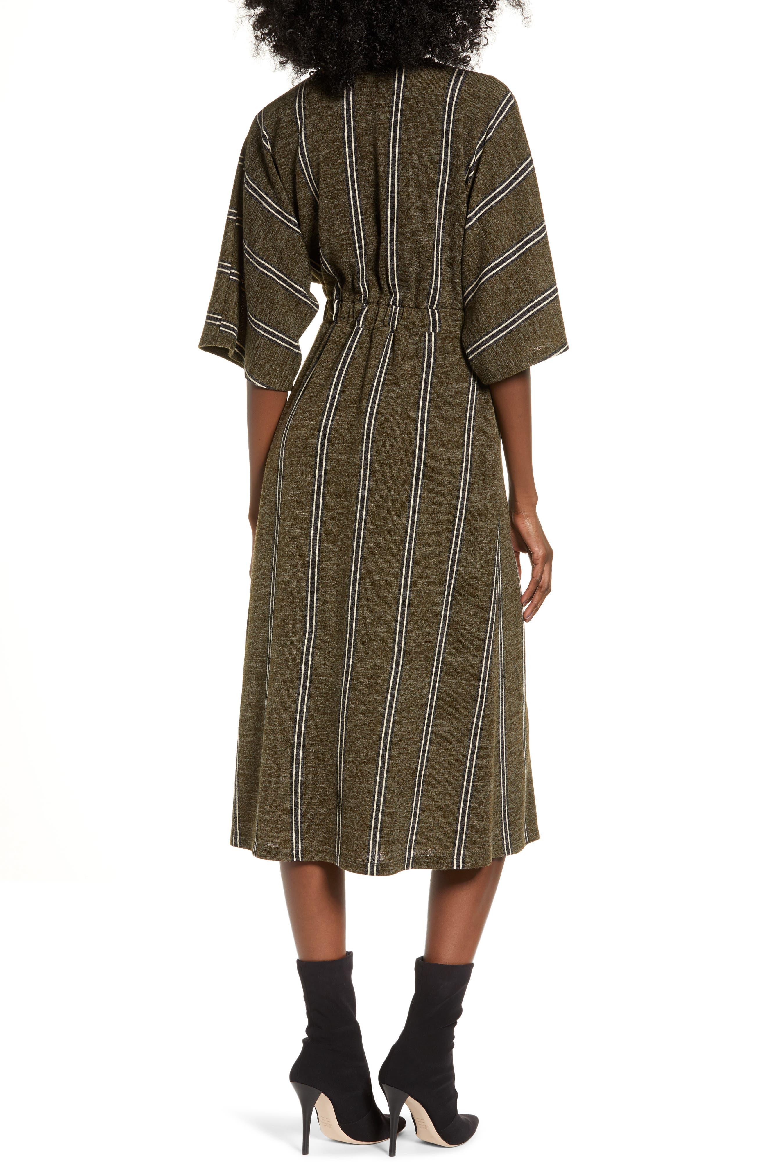 ALL IN FAVOR,                             Surplus Midi Dress,                             Alternate thumbnail 2, color,                             GREEN STRIPE